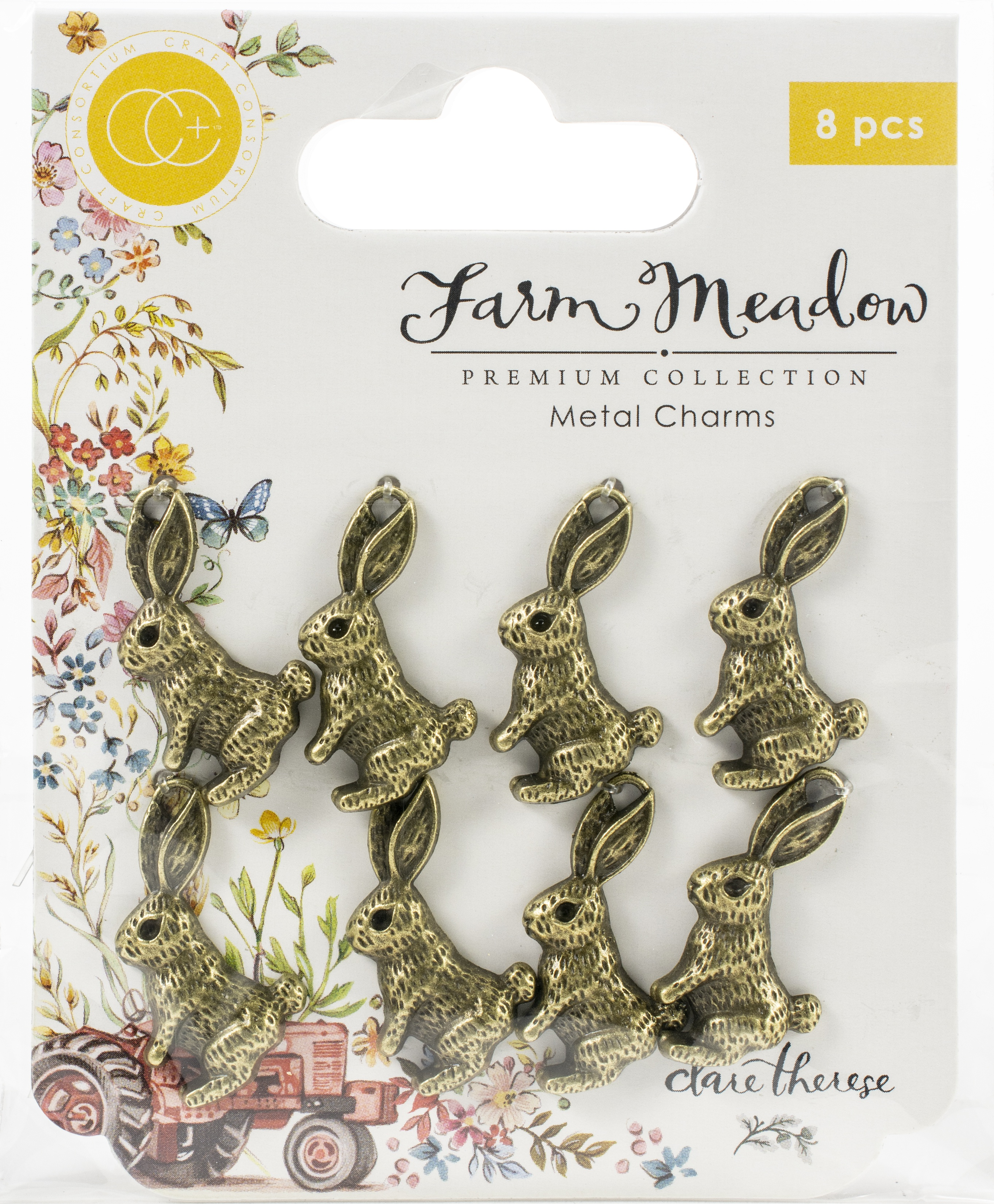 Craft Consortium Farm Meadow Metal Charms 8/Pkg-Rabbits By Clare Therese Gray