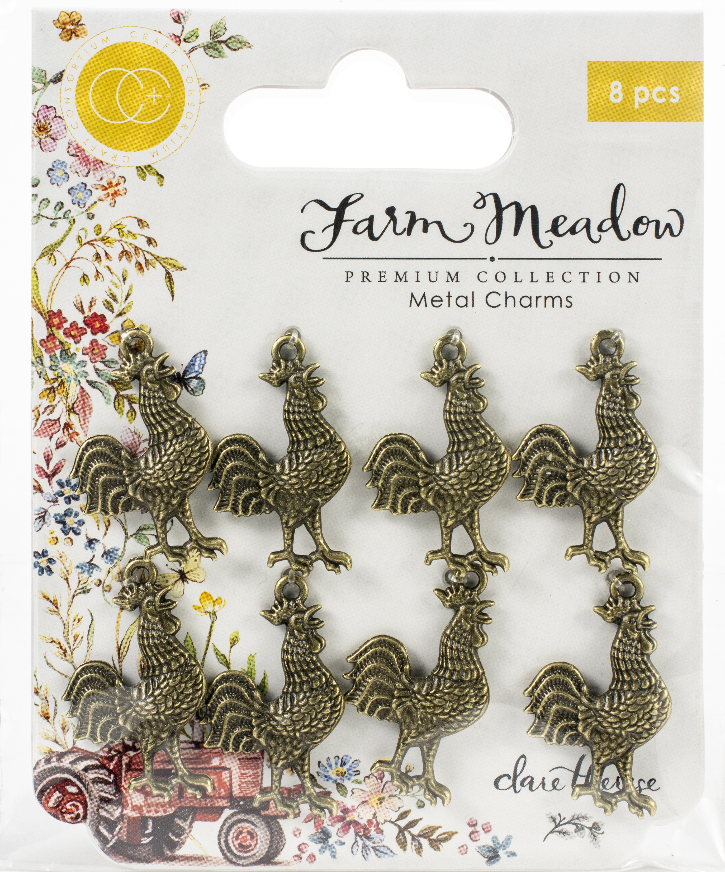 Craft Consortium Farm Meadow Metal Charms 8/Pkg-Rooster By Clare Therese Gray