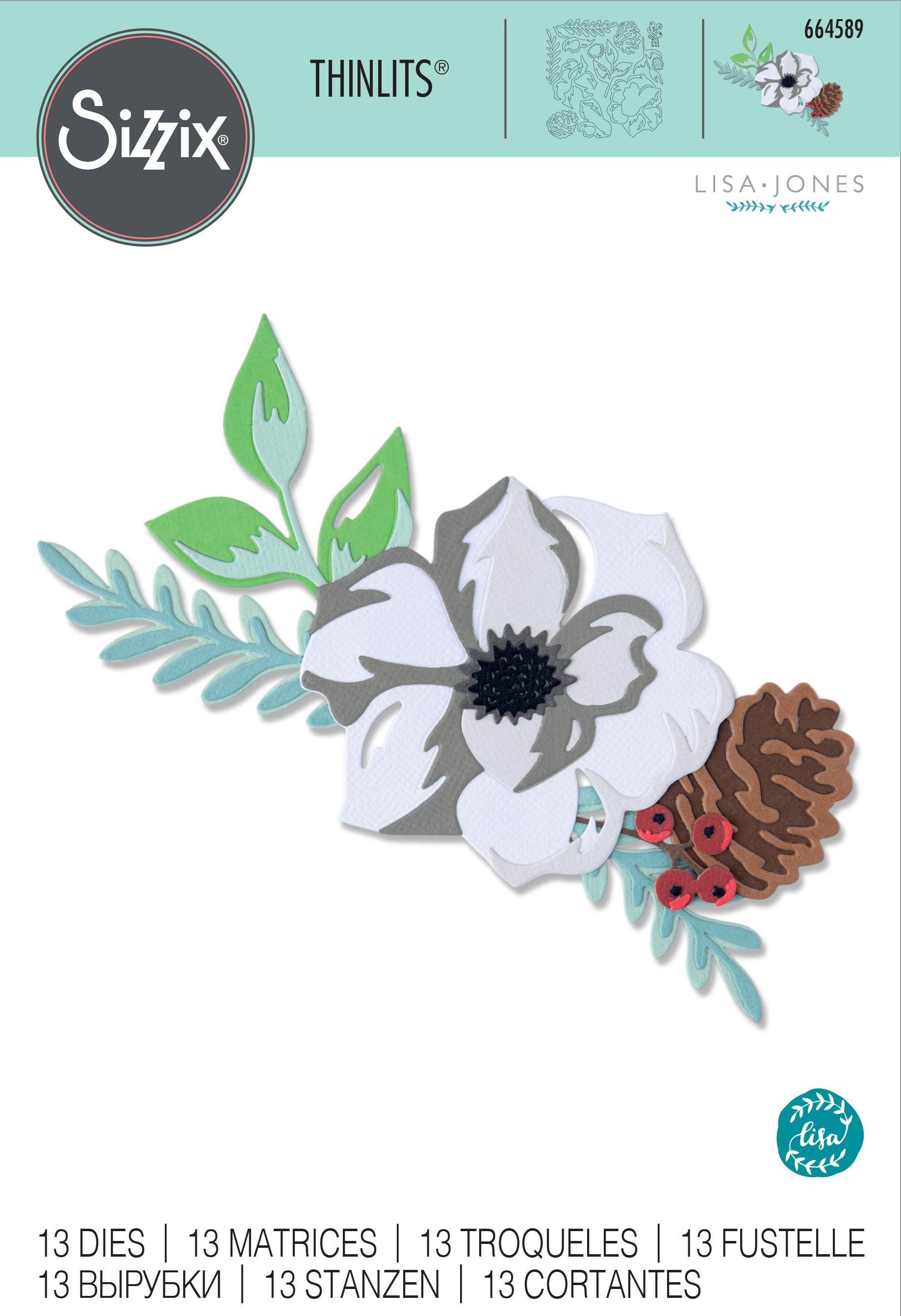 Sizzix Thinlits Dies By Lisa Jones 13/Pkg-Layered Winter Flower