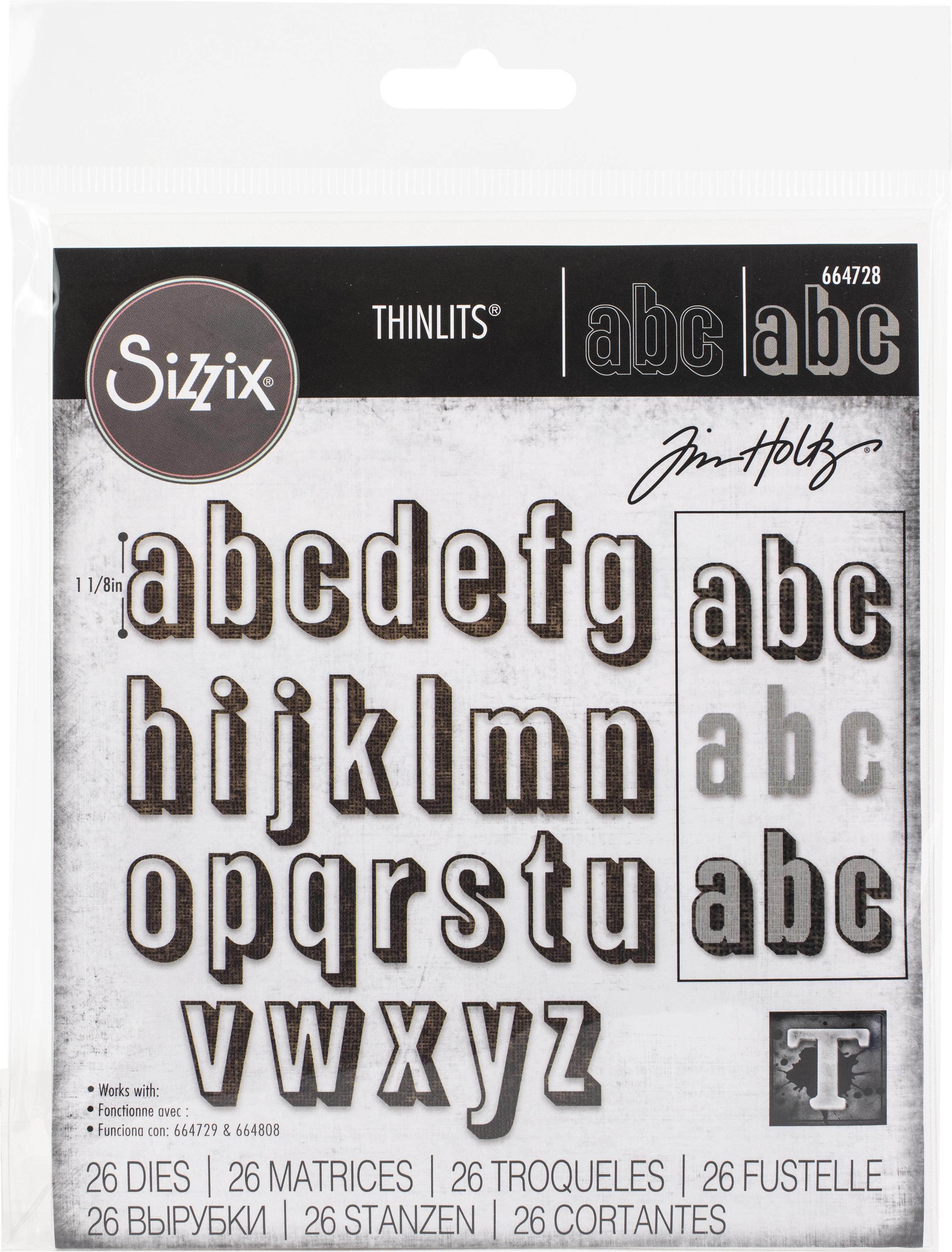 Sizzix Thinlits Dies - Alphanumeric Shadow Lower by Tim Holtz