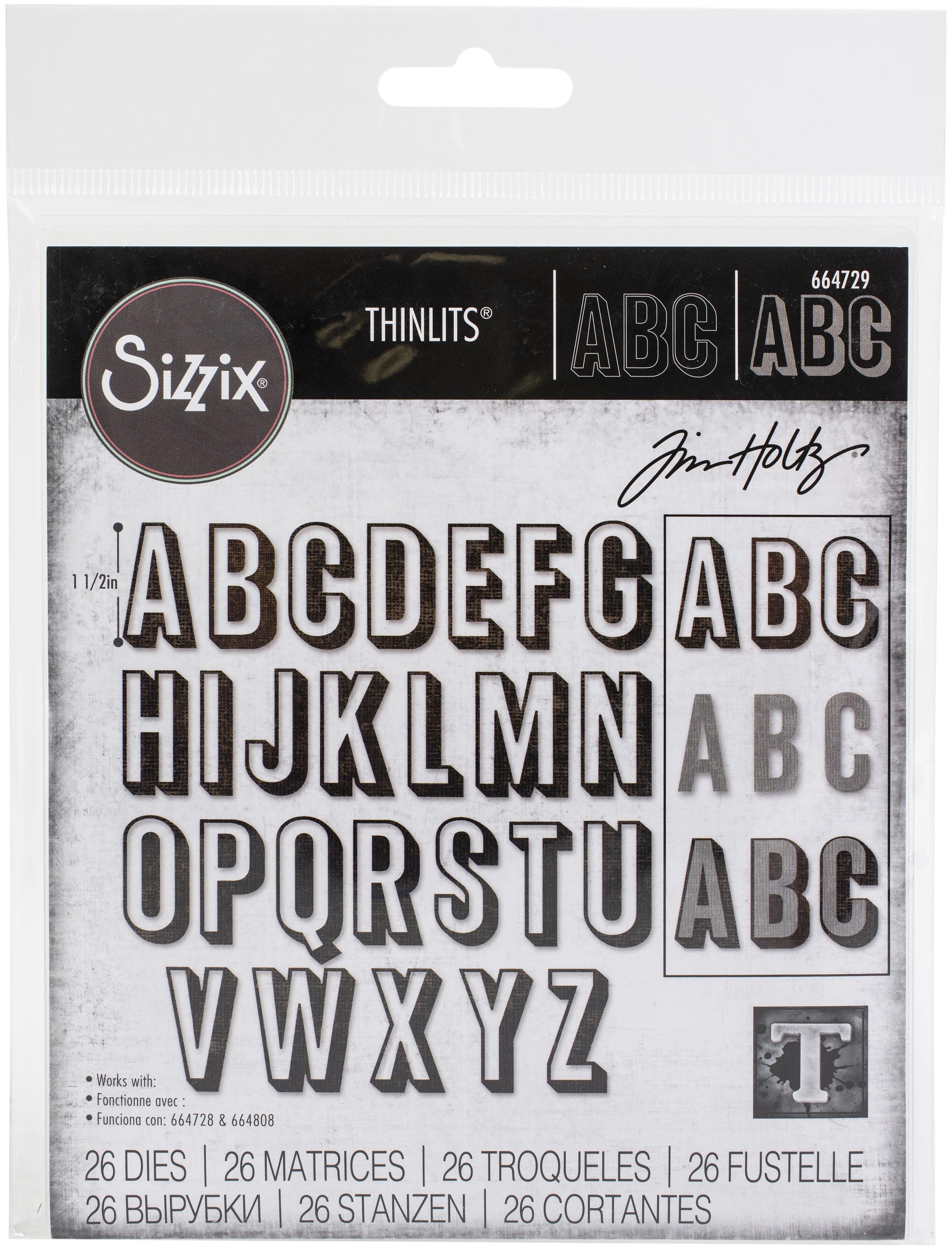 Sizzix Thinlits Dies By Tim Holtz 26/Pkg-Alphanumeric, Shadow Upper