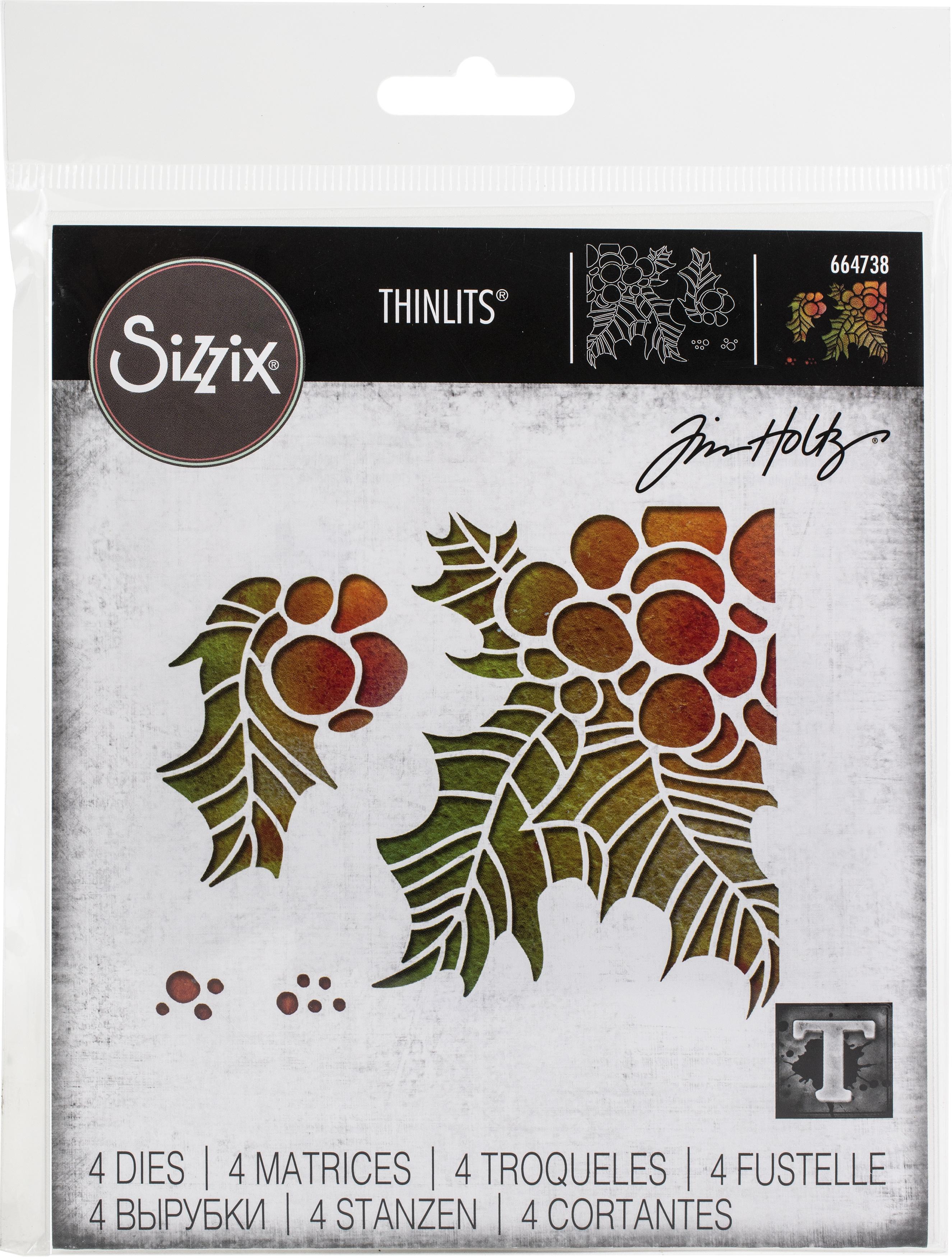Sizzix Thinlits Dies By Tim Holtz 4/Pkg-Holly Pieces