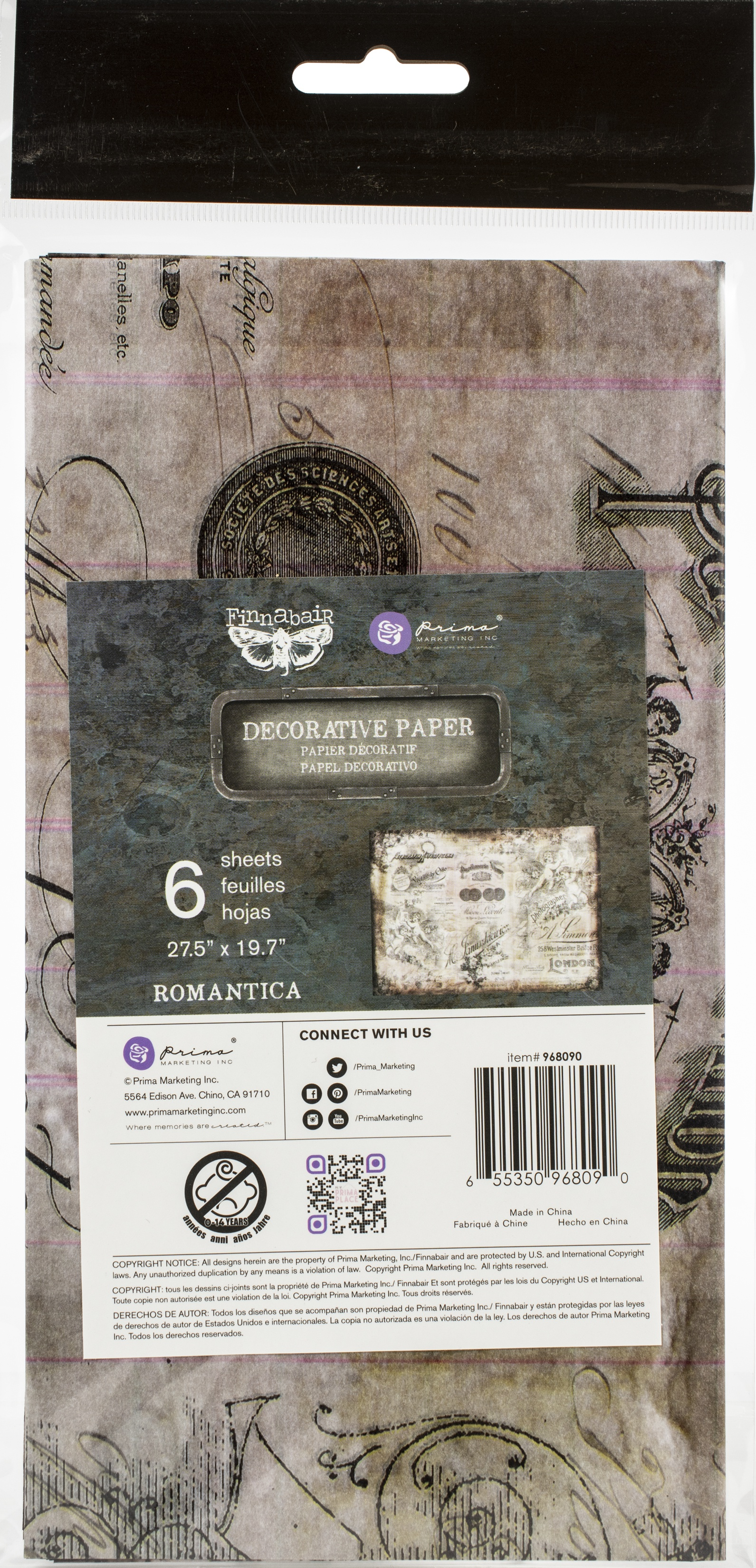 Finnabair Mixed Media Tissue Paper 27.5X19.7 Romantica