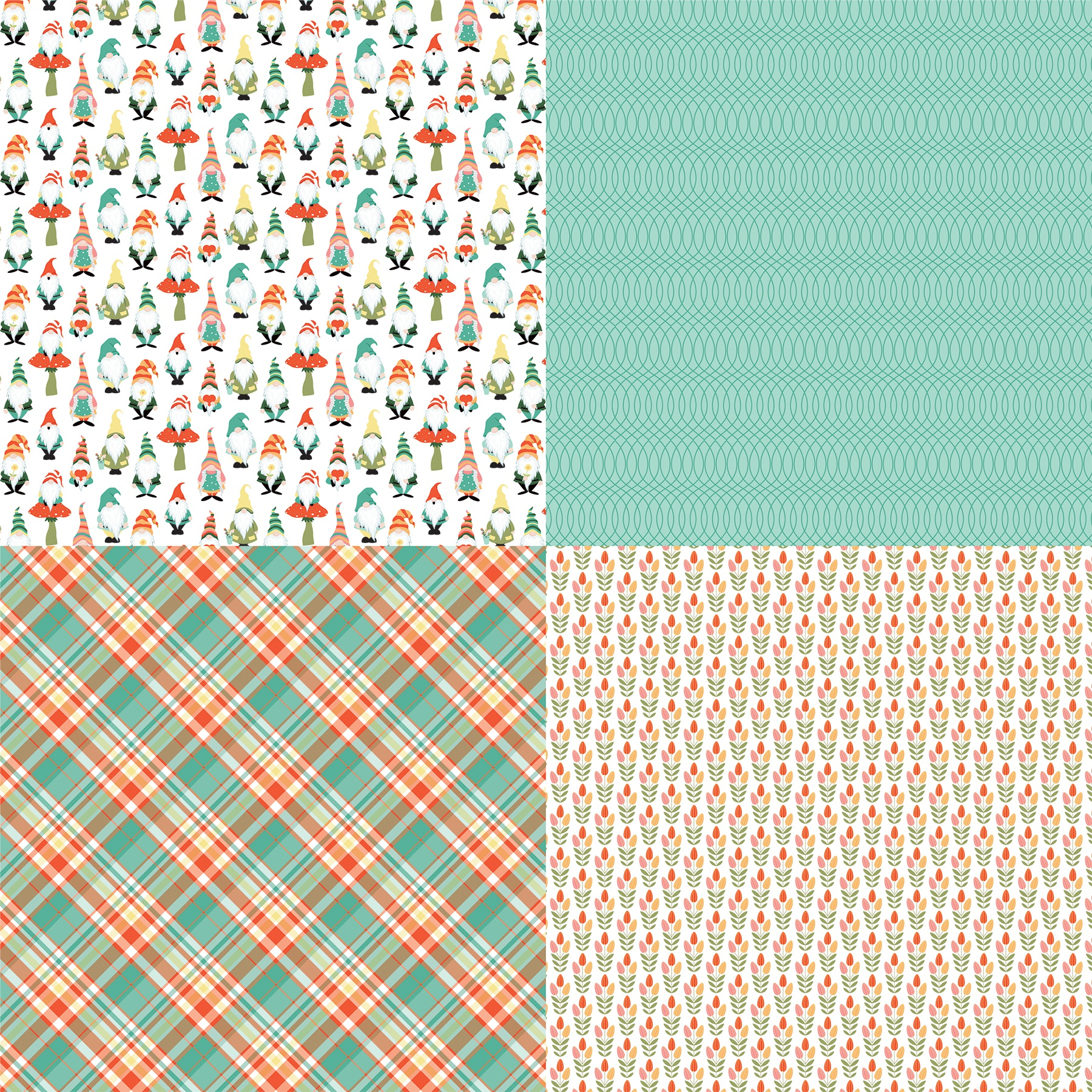 Tulla & Norbert Double-Sided Cardstock 12X12-Quad #3