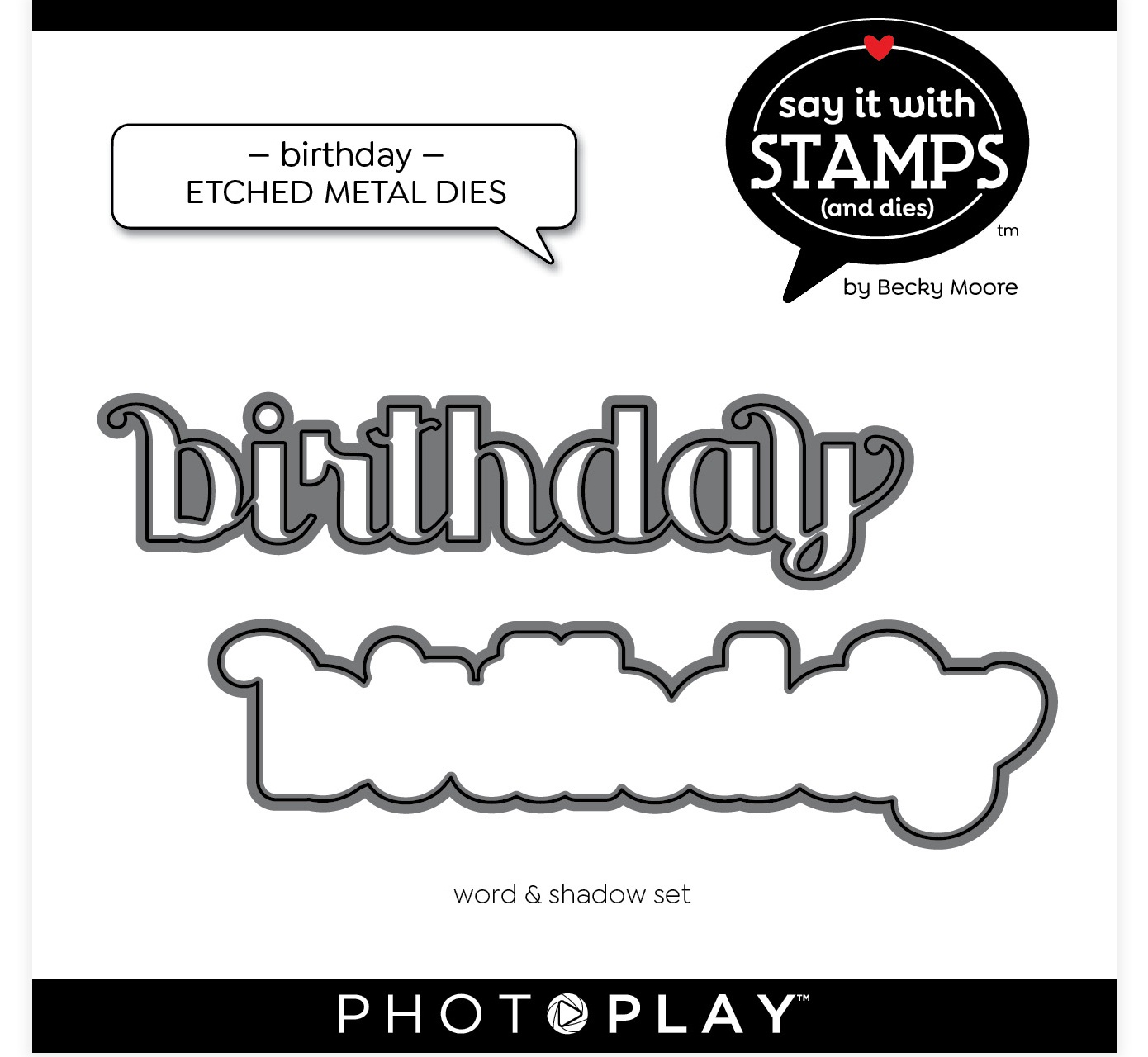PhotoPlay Say It With Stamps Die Set-Birthday