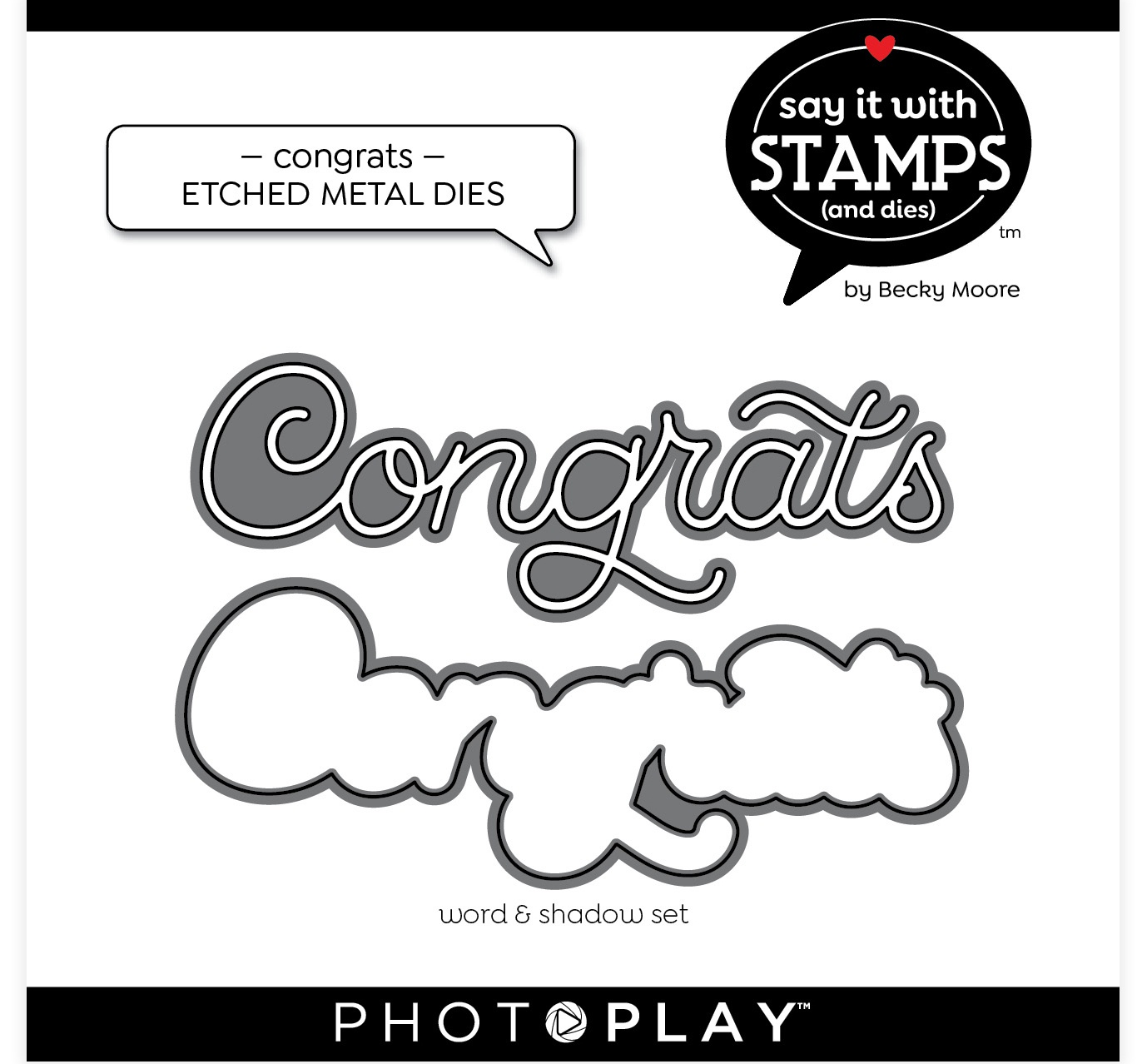 PhotoPlay Say It With Stamps Die Set-Congrats