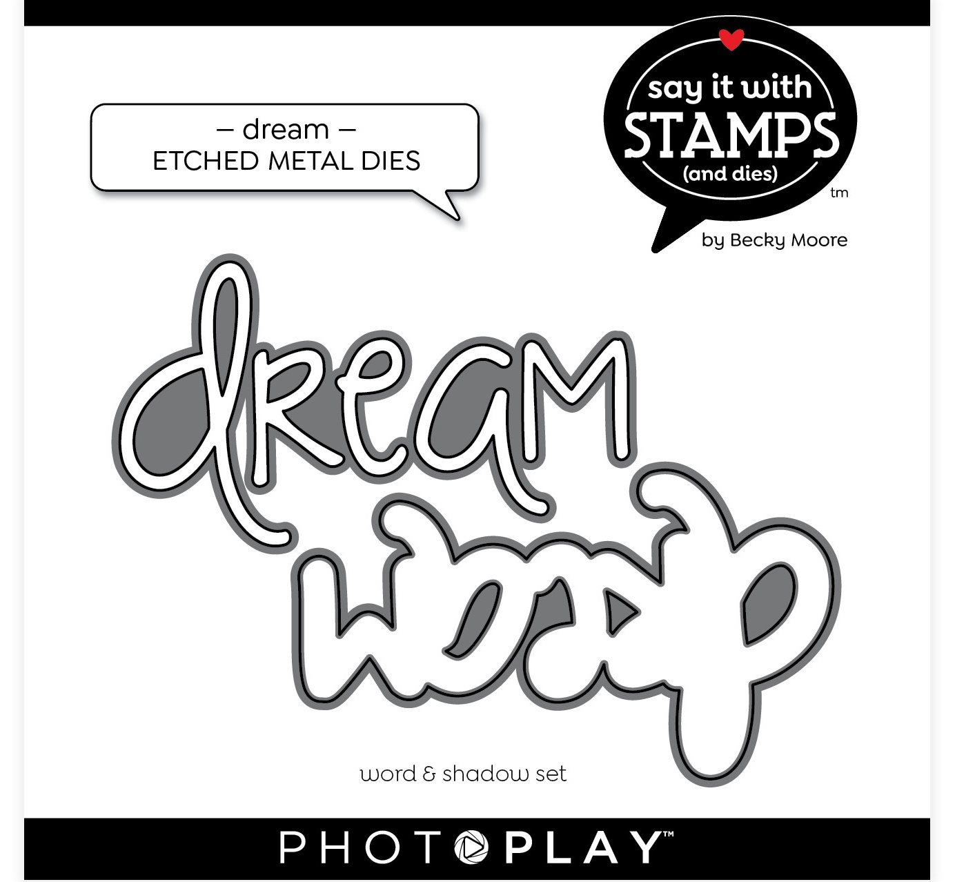 PhotoPlay Say It With Stamps Die Set-Dream