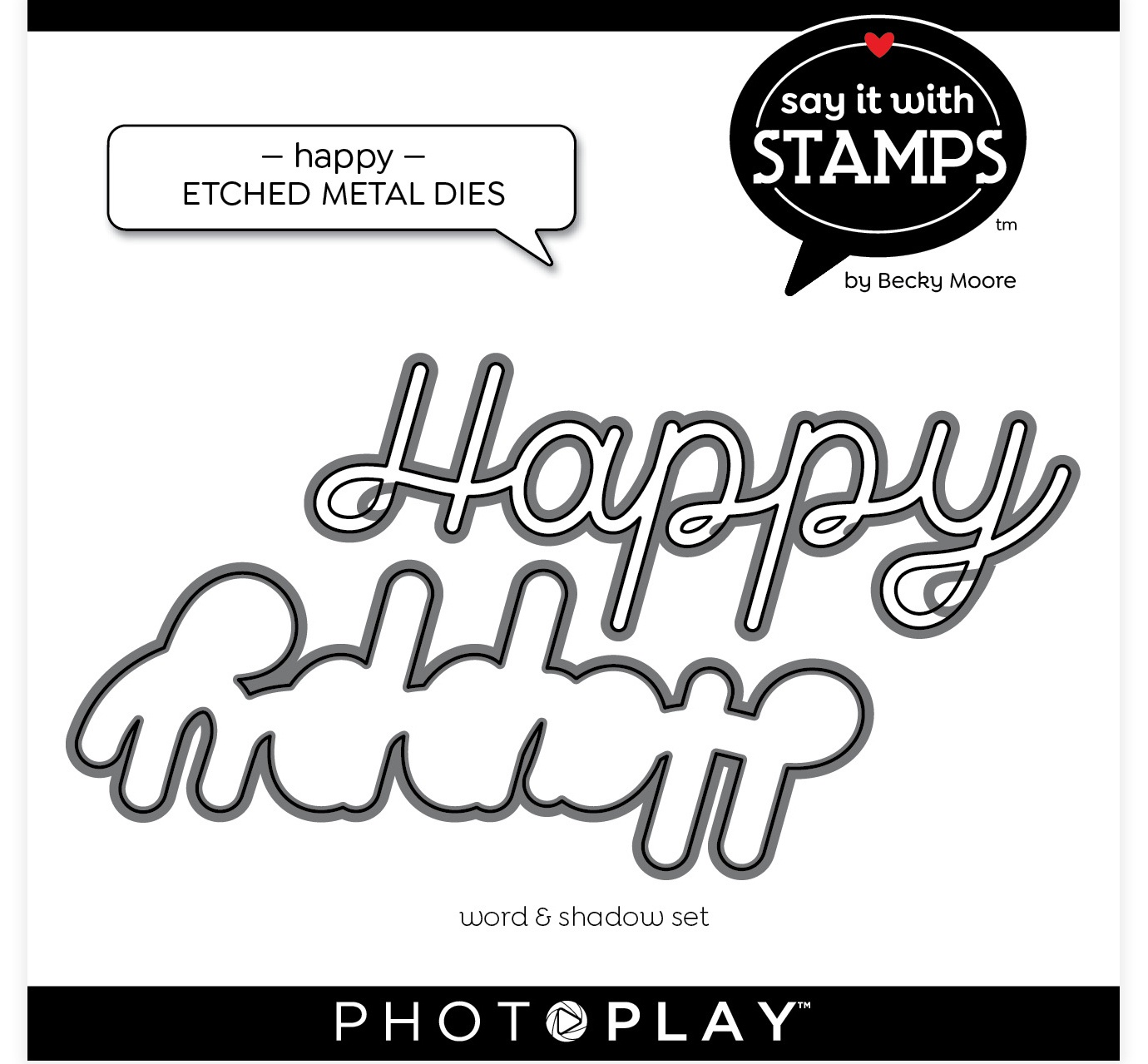 PhotoPlay Say It With Stamps Die Set-Happy