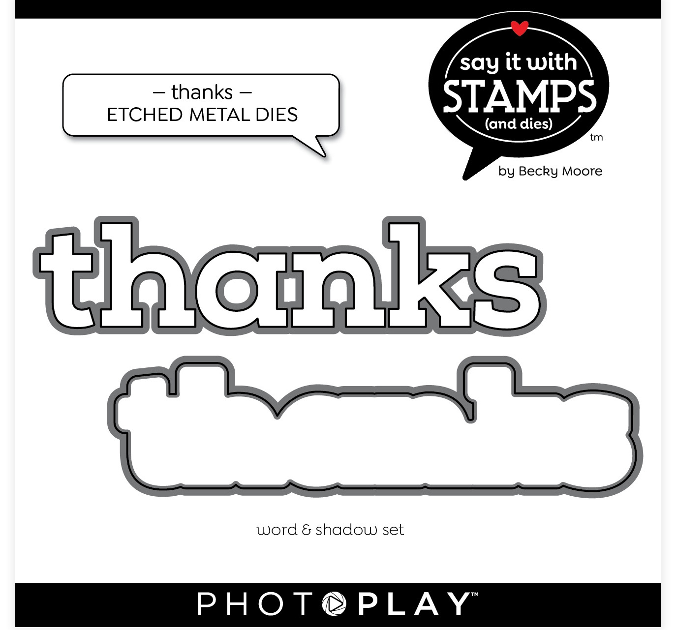 PhotoPlay Say It With Stamps Die Set-Thanks