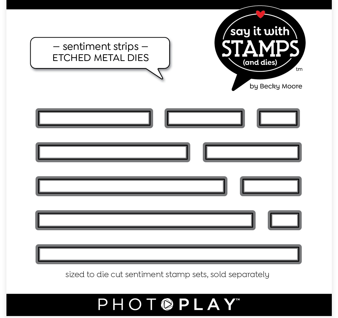 PhotoPlay Say It With Stamps Die Set-Sentiment Strips