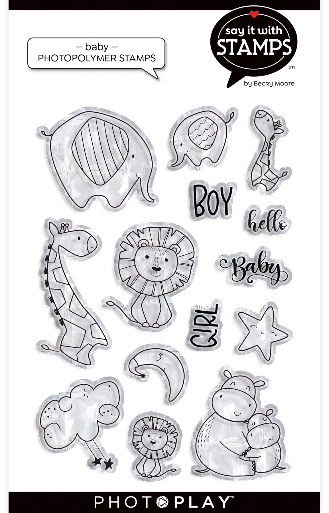 PhotoPlay Say It With Stamps Photopolymer Stamps-Baby Hugs & Kisses