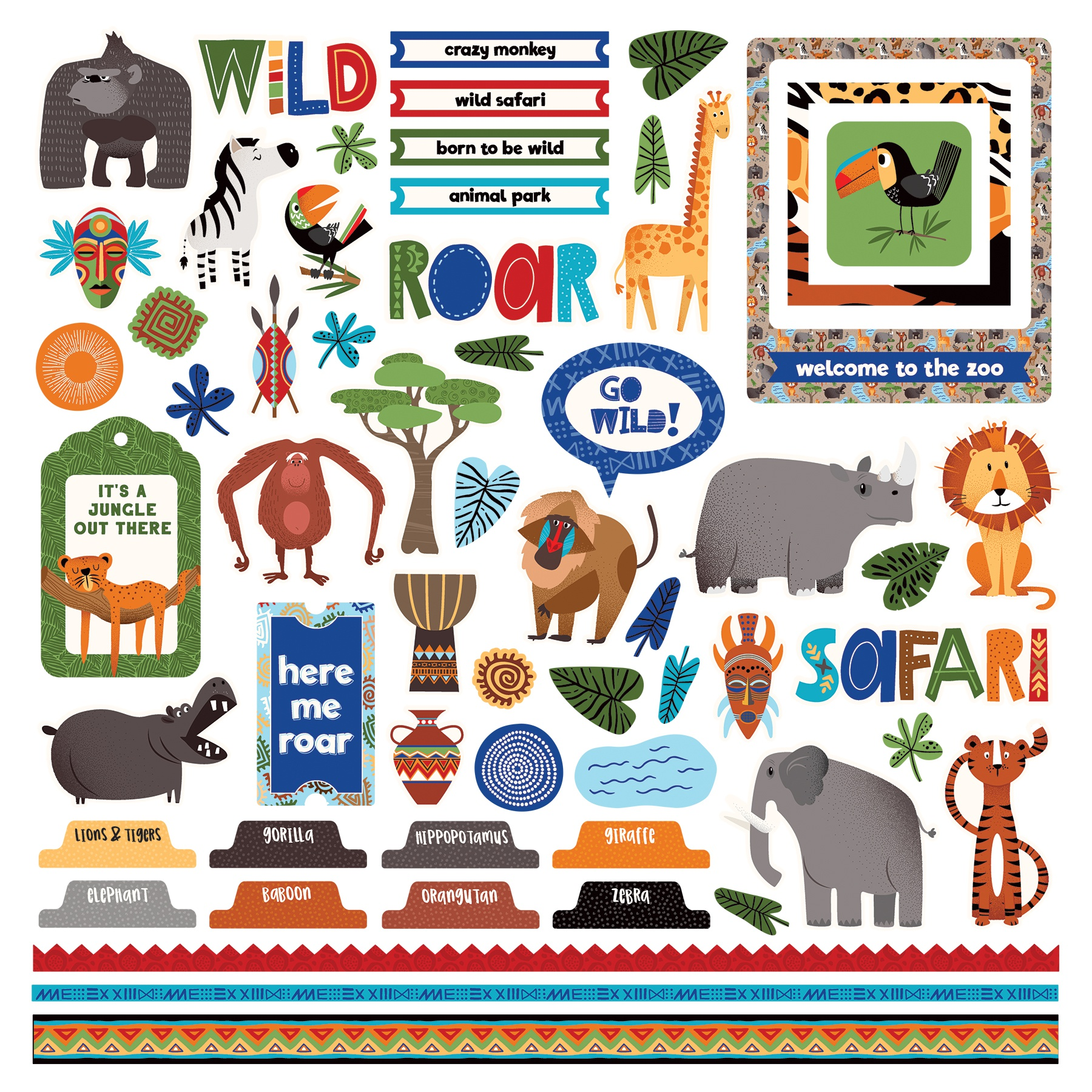 A Walk On The Wild Side Stickers 12X12-Elements