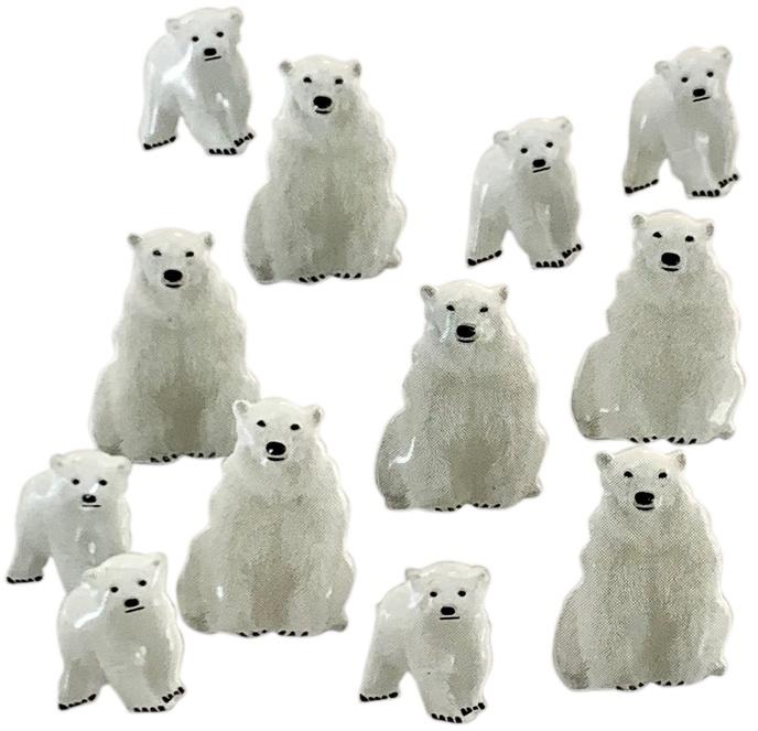 Eyelet Outlet Shape Brads 12/Pkg-Polar Bear