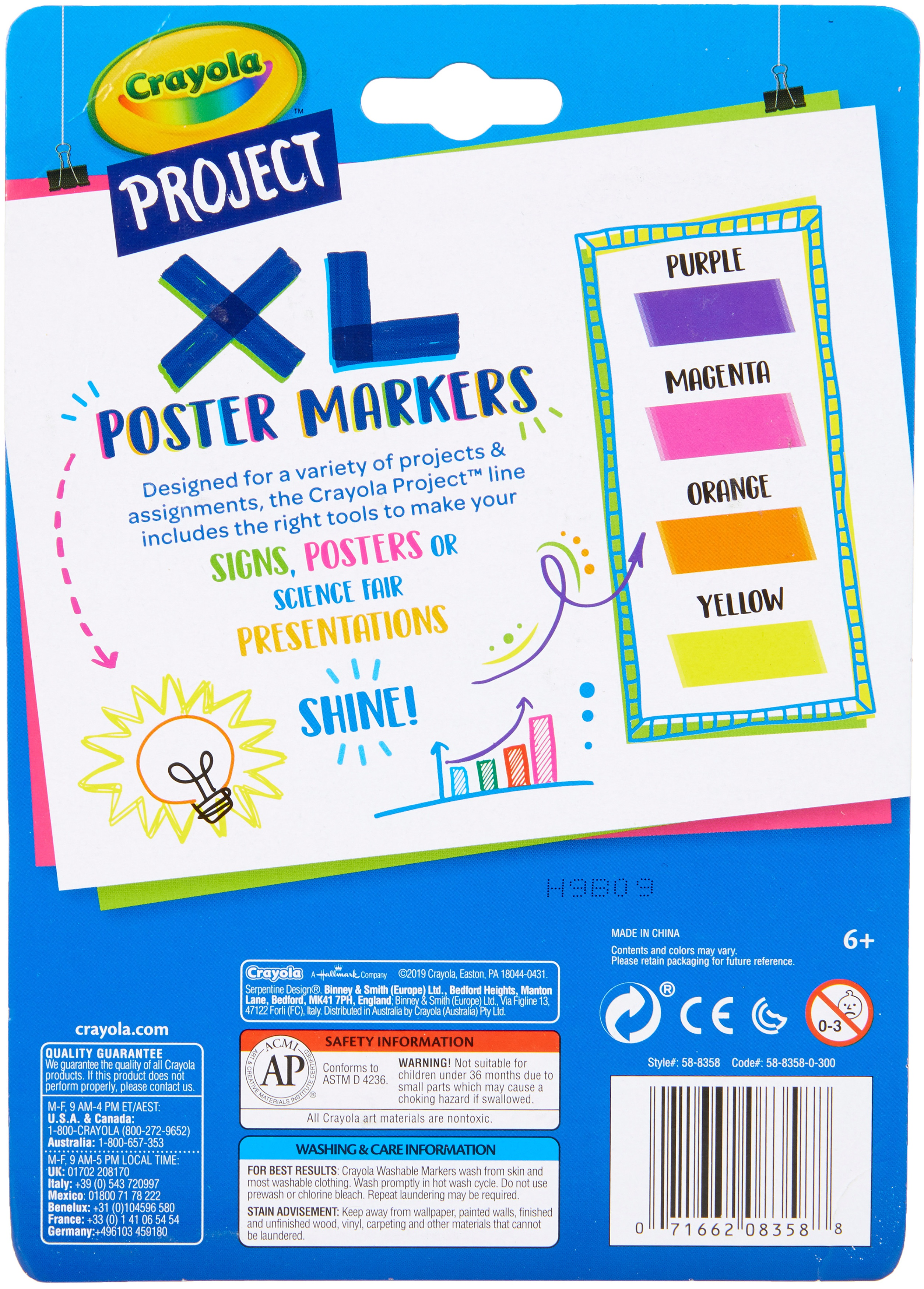 Crayola Project XL Poster Markers 4/Pkg-Bold & Bright Colors