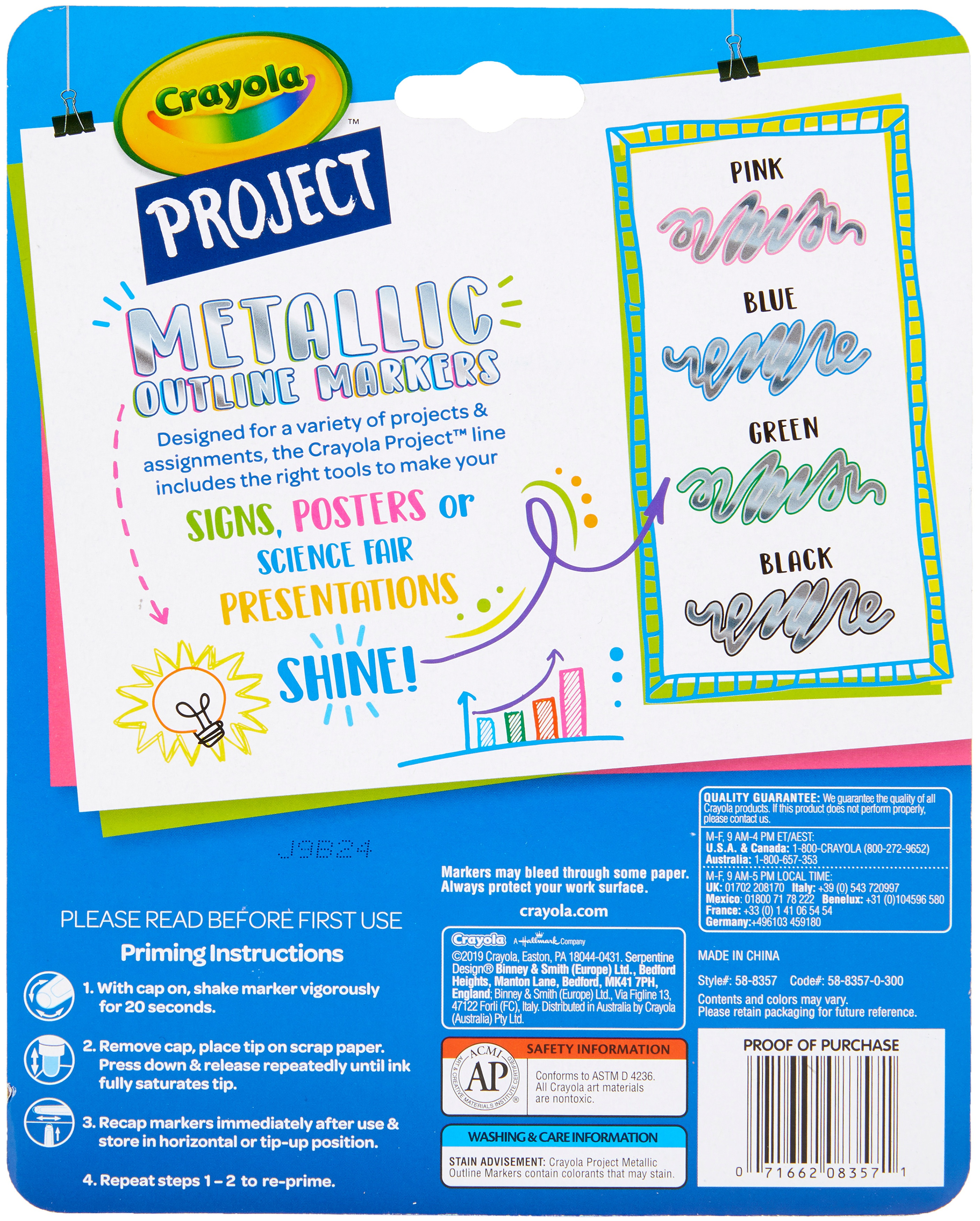 Crayola Project Outline Markers 4/Pkg-Metallic Colors