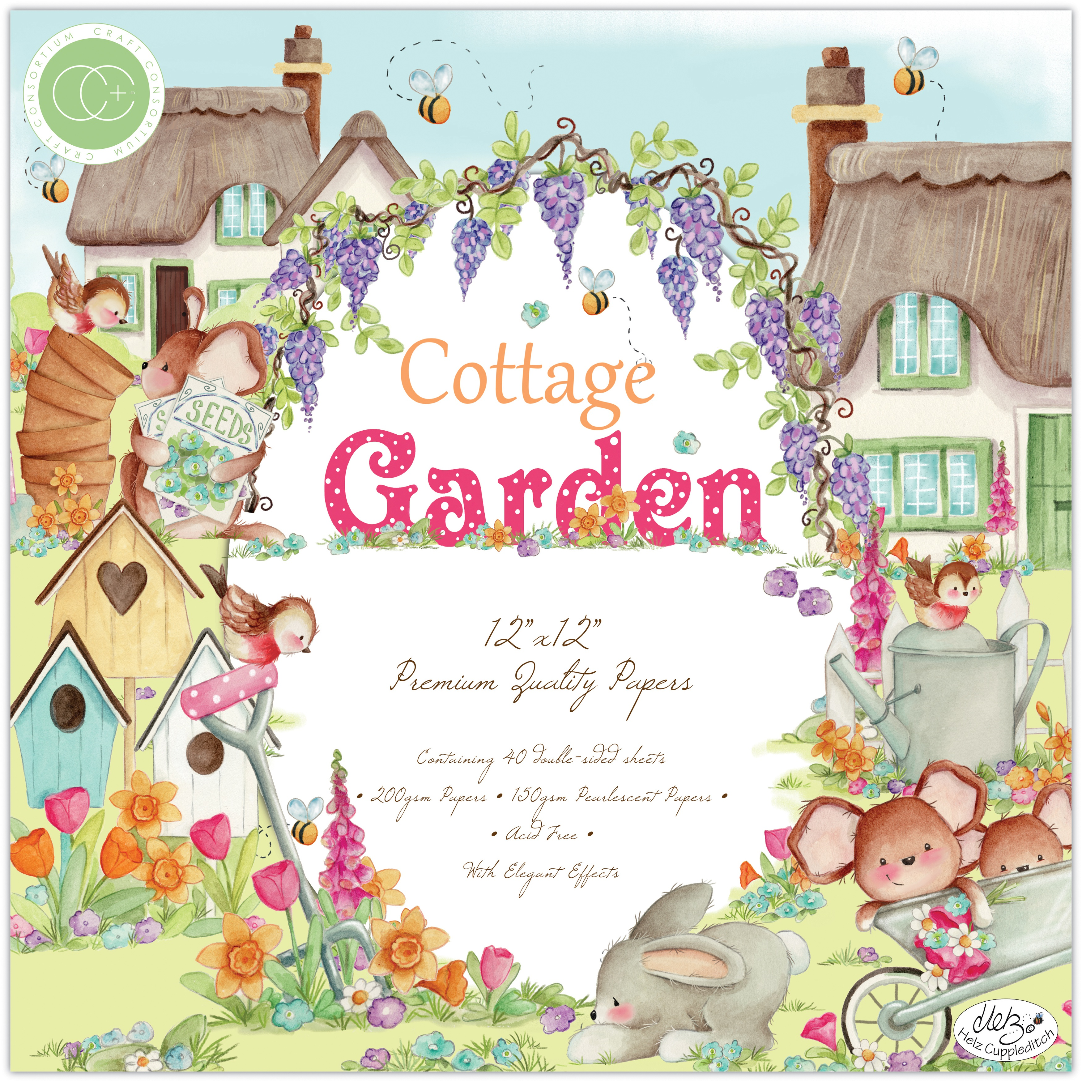 Craft Consortium Double-Sided Paper Pad 12X12 40/Pkg-Cottage Garden