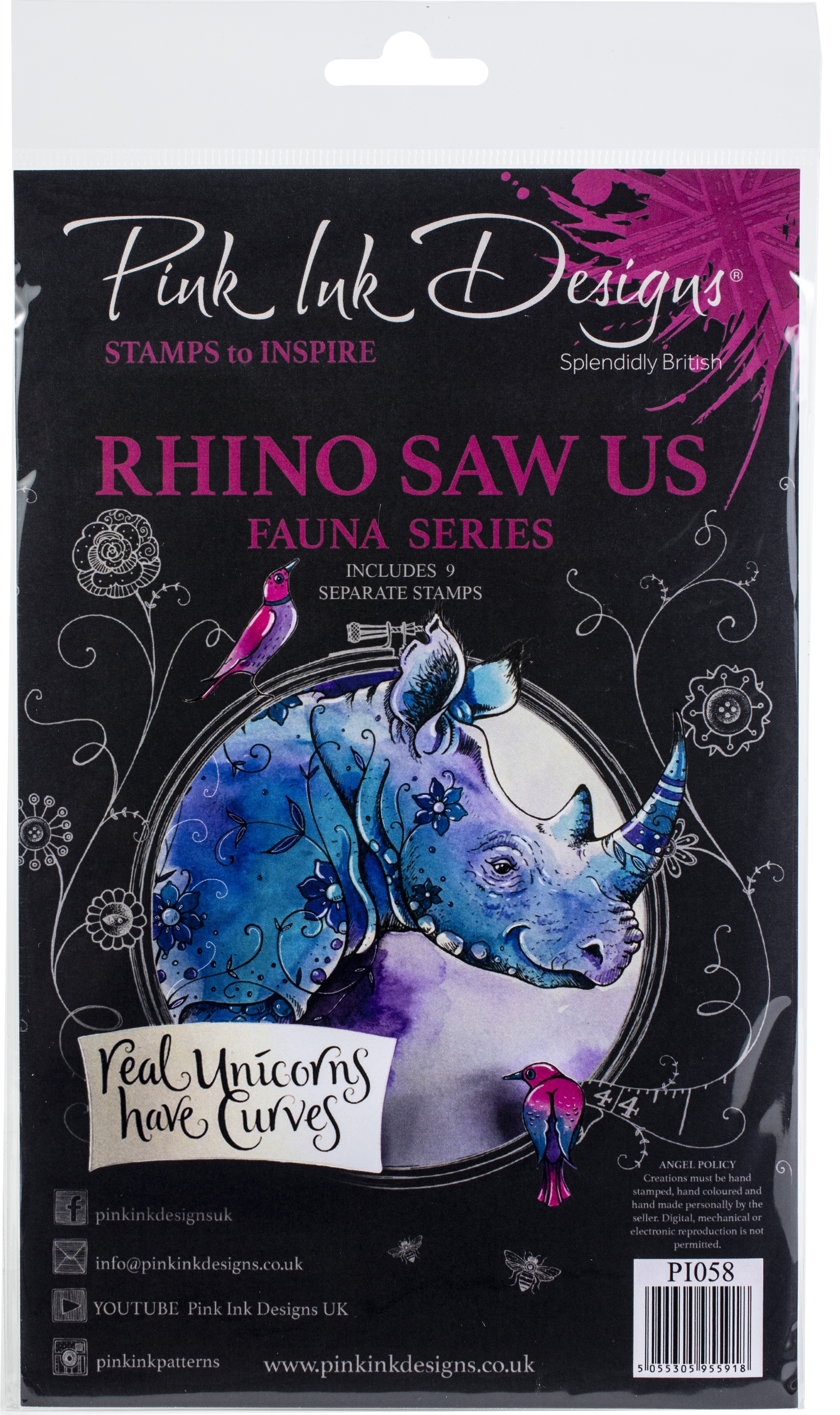 Pink Ink Designs A5 Clear Stamp Set -Rhino Saw Us
