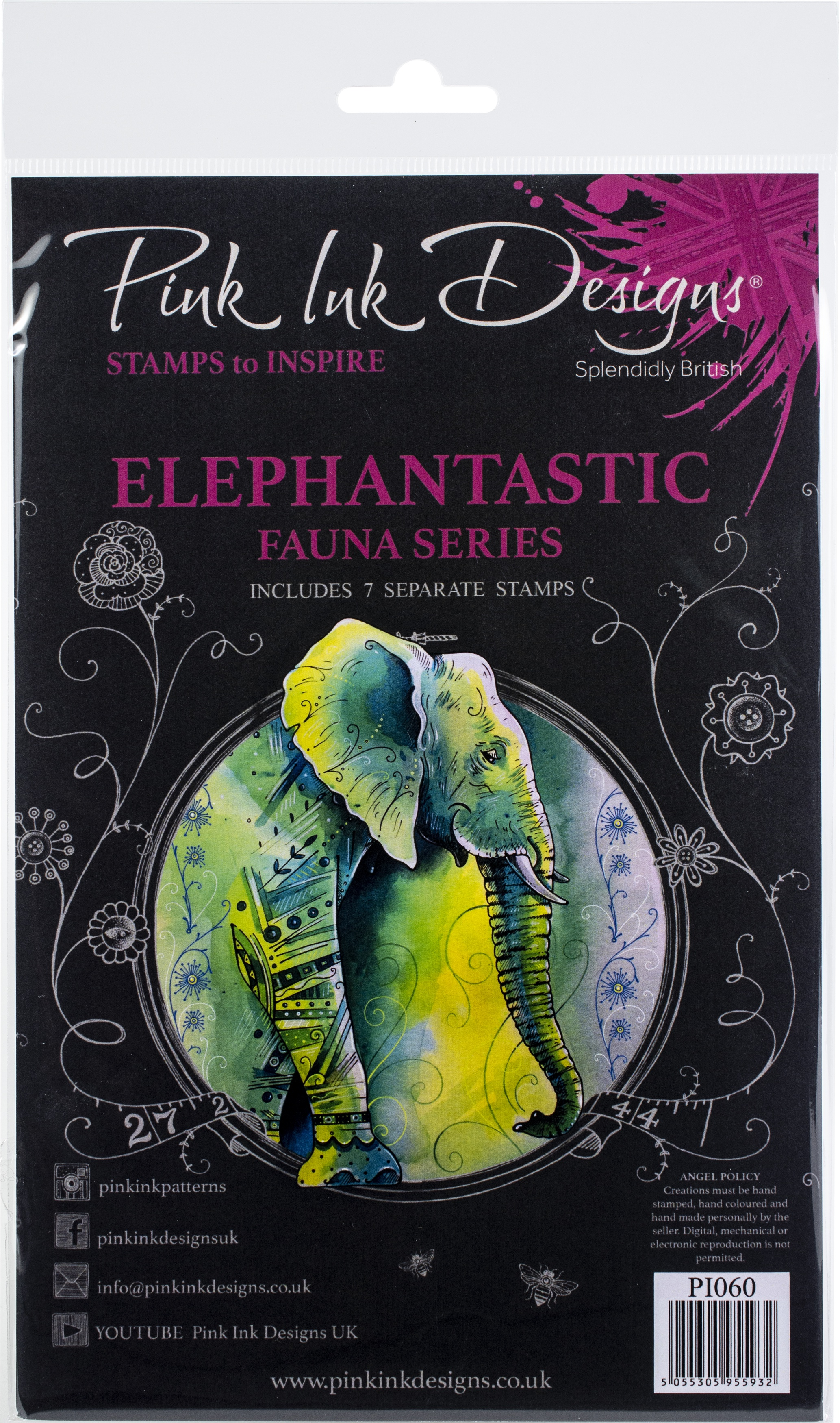 Pink Ink Designs A5 Clear Stamp Set -Elephantastic