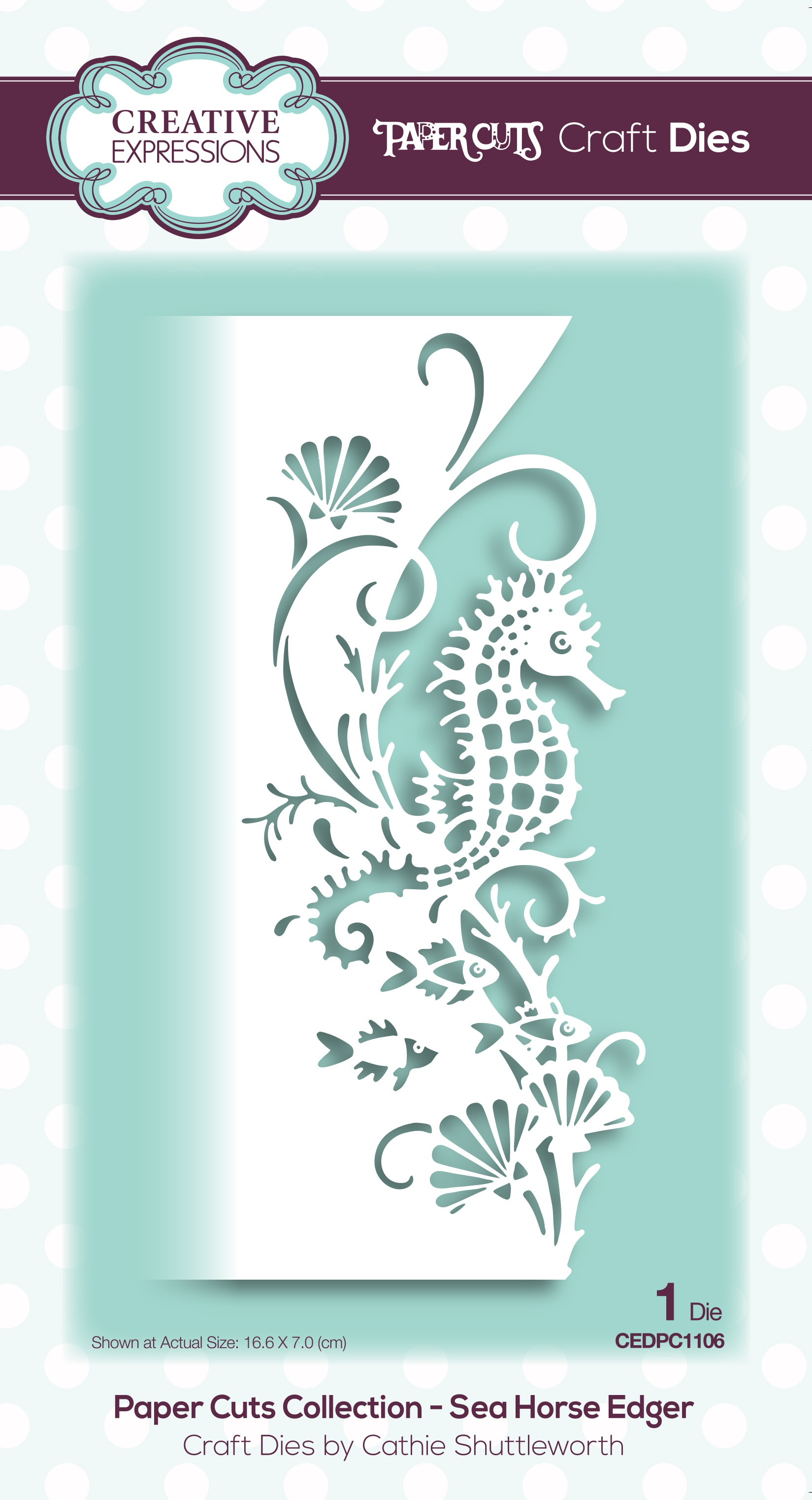 Creative Expressions Paper Cuts Edger Craft Dies-Sea Horse