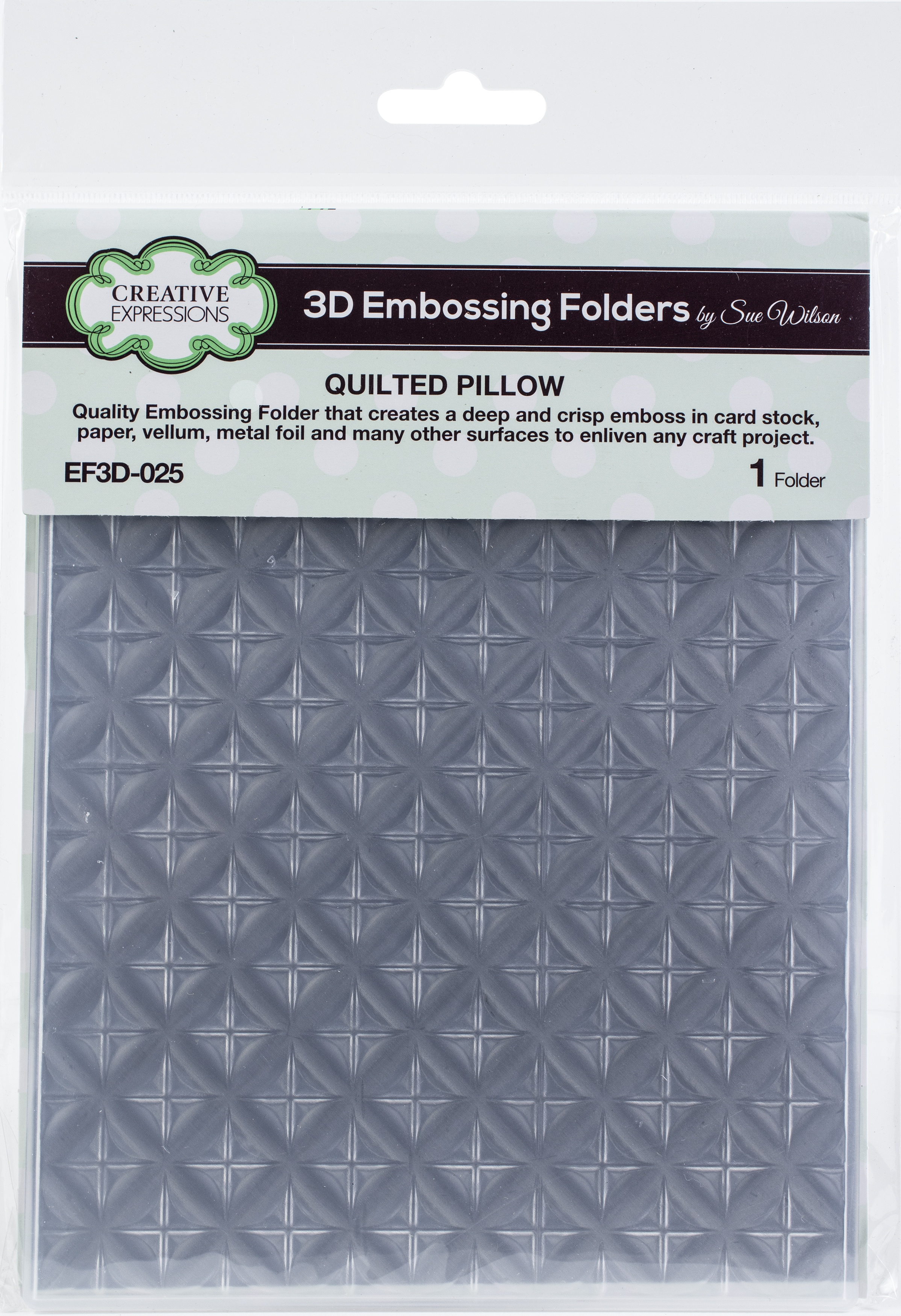 Creative Expressions 3D Embossing Folder 5.75X7.5-Quilted Pillow