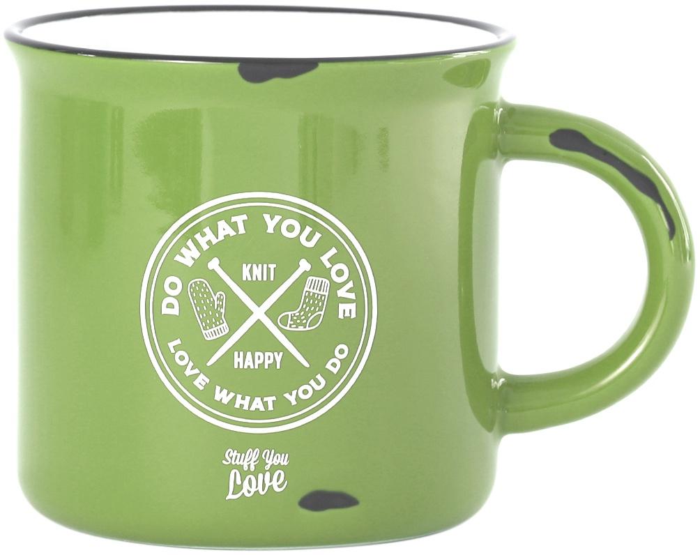 K1C2 Knit Happy Happy Camper Mug 15oz-Lime