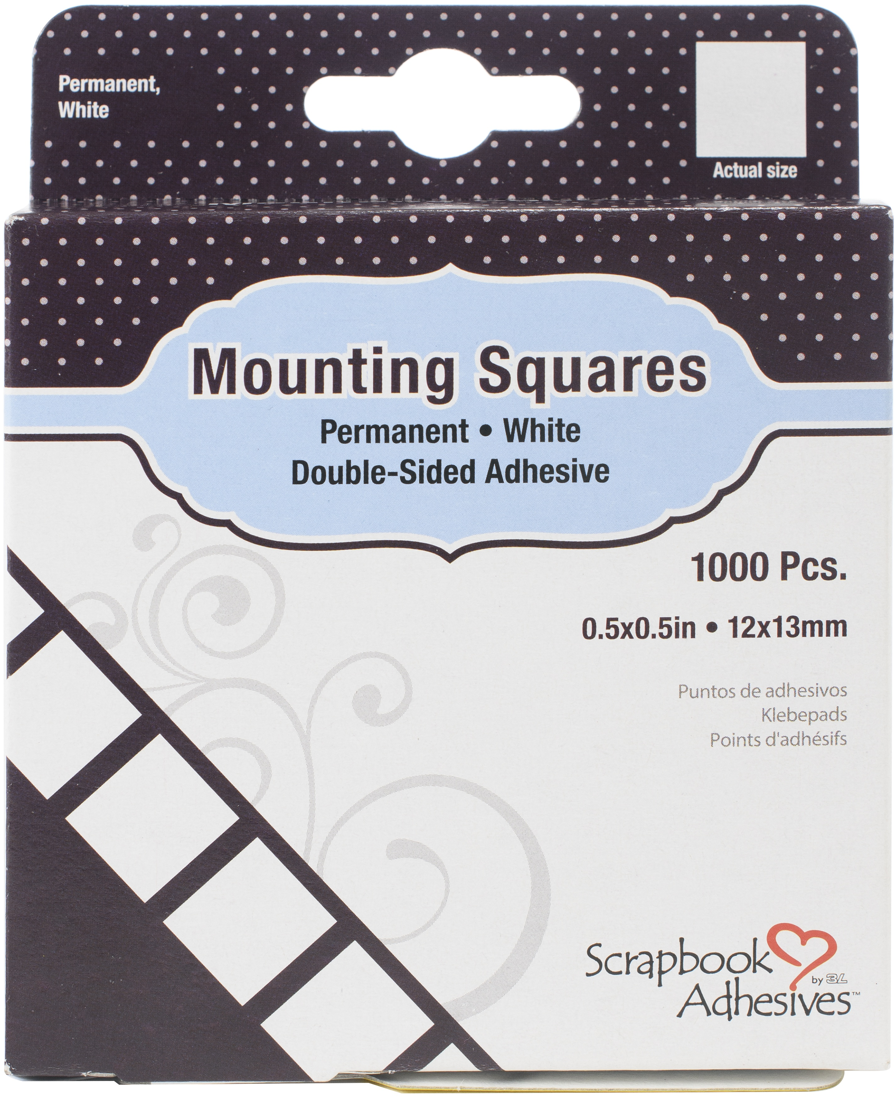 Scrapbook Adhesives Mounting Squares 1000/Pkg-Permanent, White, .5X.5