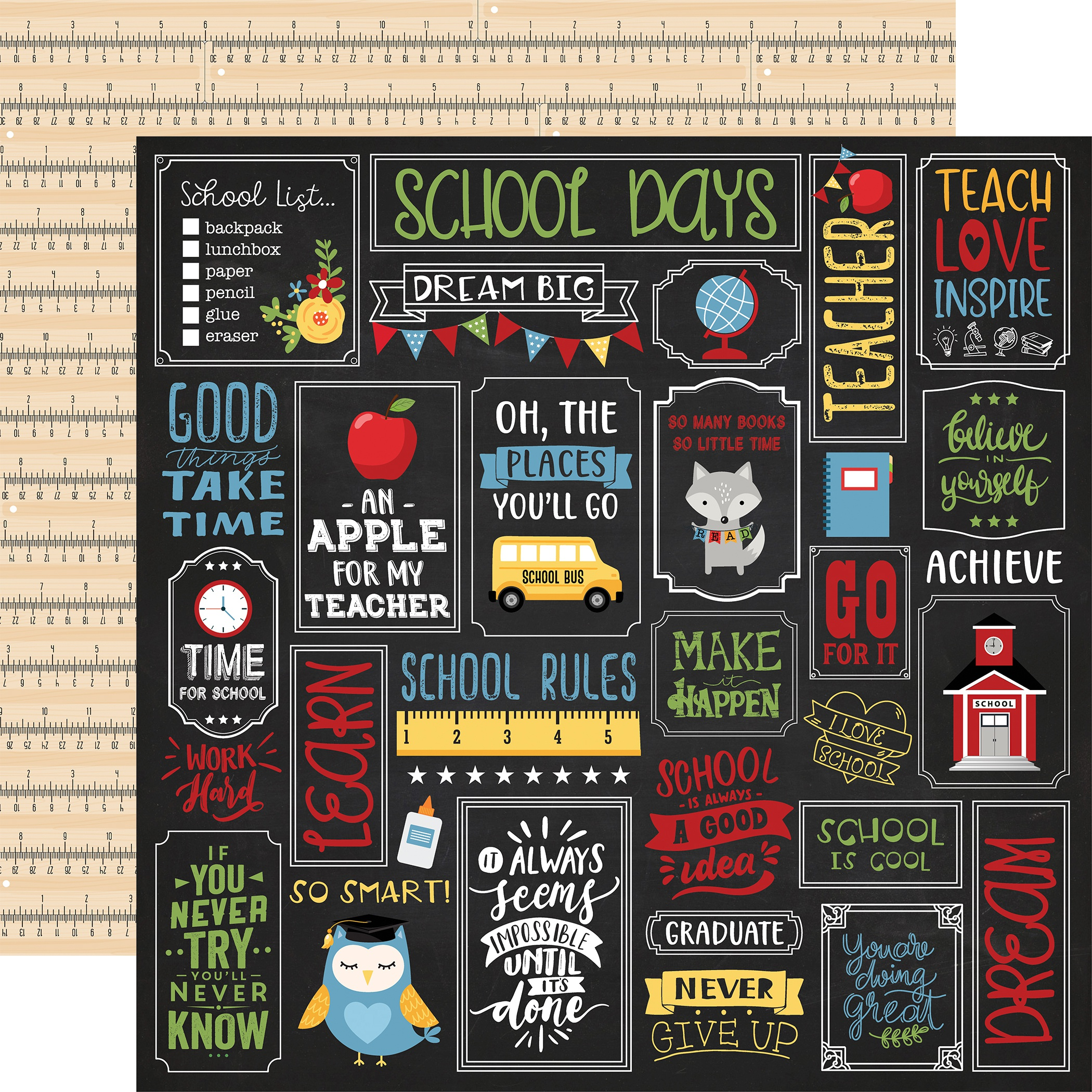 Click for more images School Rules Double-Sided Cardstock 12X12-Alphabet