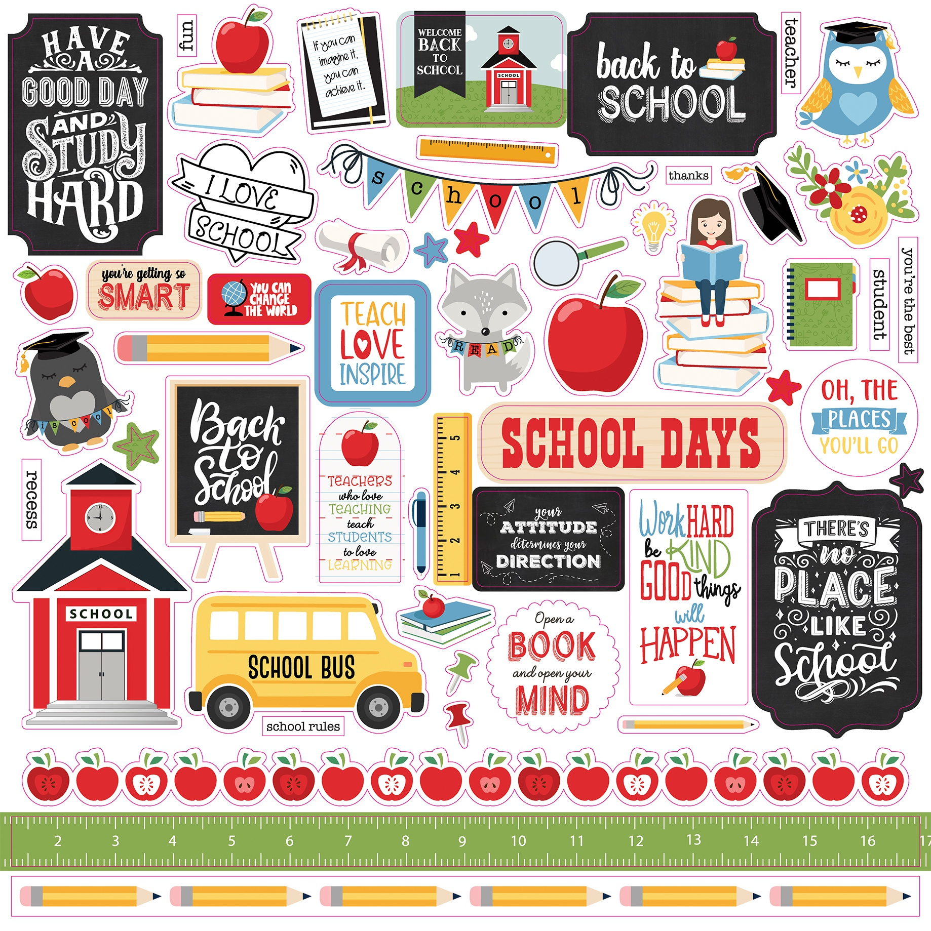 School Rules Cardstock Stickers 12X12-Elements
