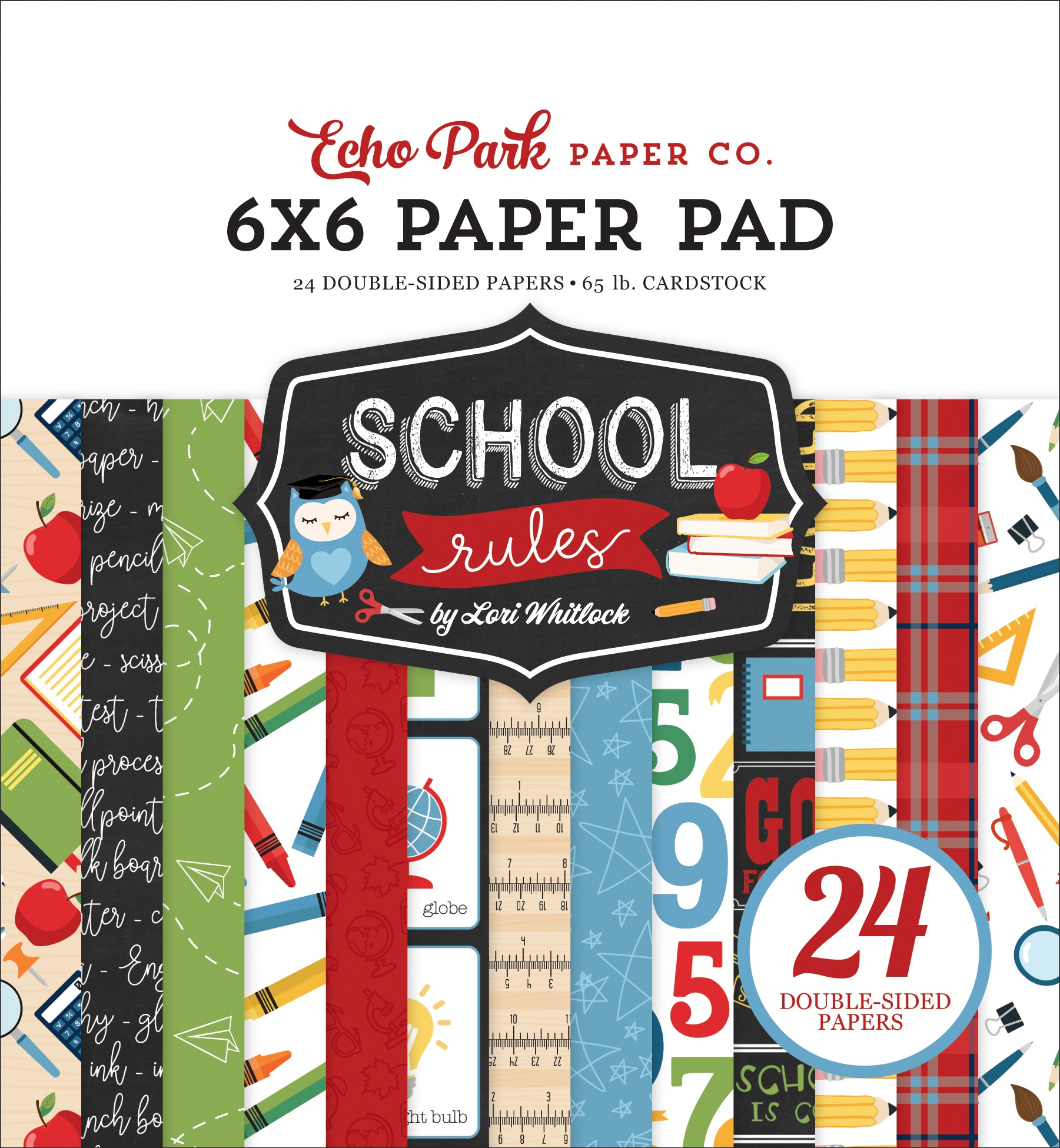 Echo Park Double-Sided Paper Pad 6X6 24/Pkg-School Rules, 12 Designs/2 Each