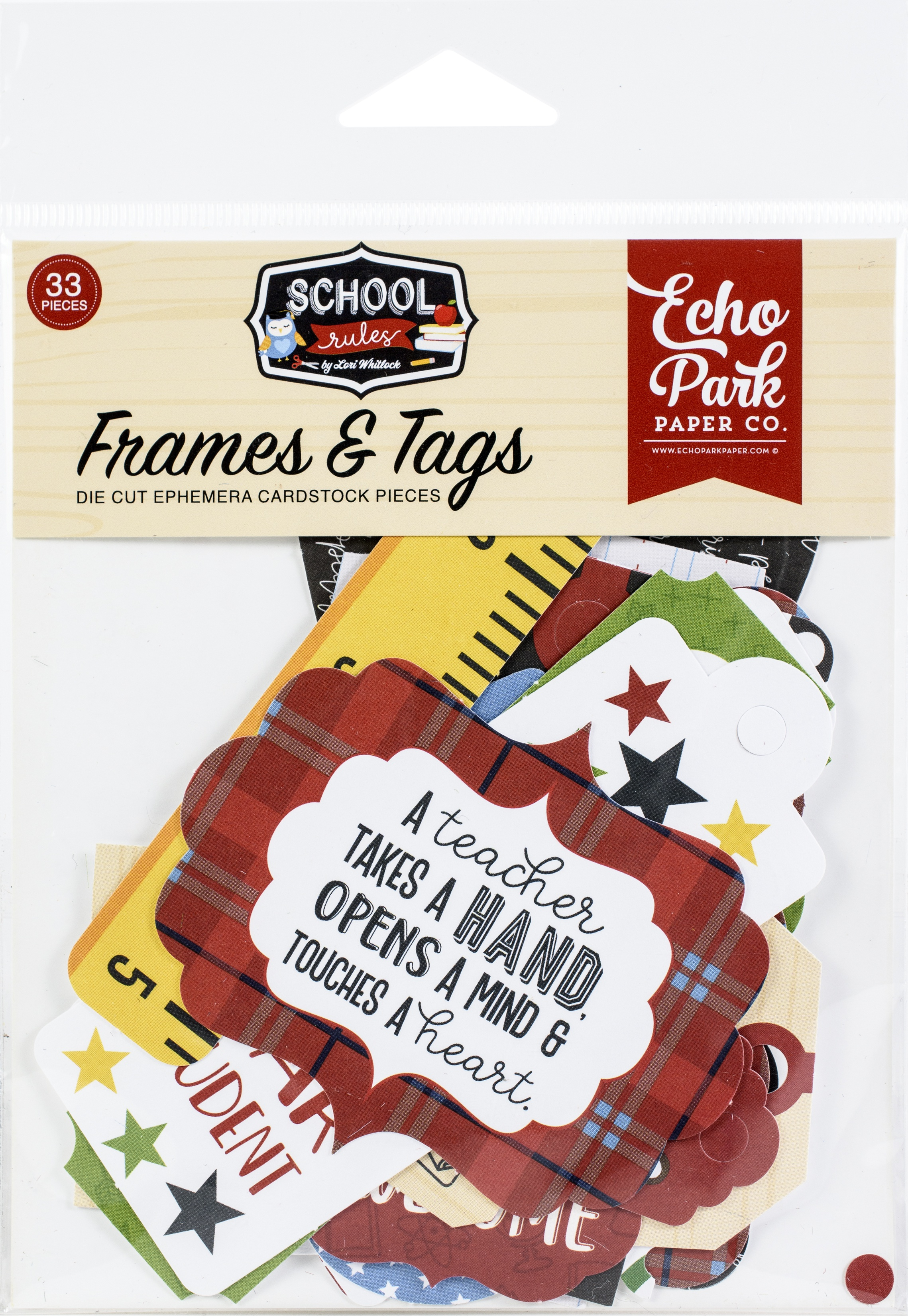 Echo Park School Rules - Frames & Tags Die-Cut Cardstock Pieces