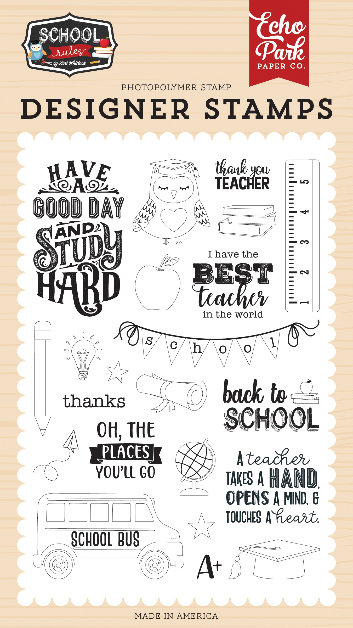 Echo Park School Rules - Study Hard Stamp Set