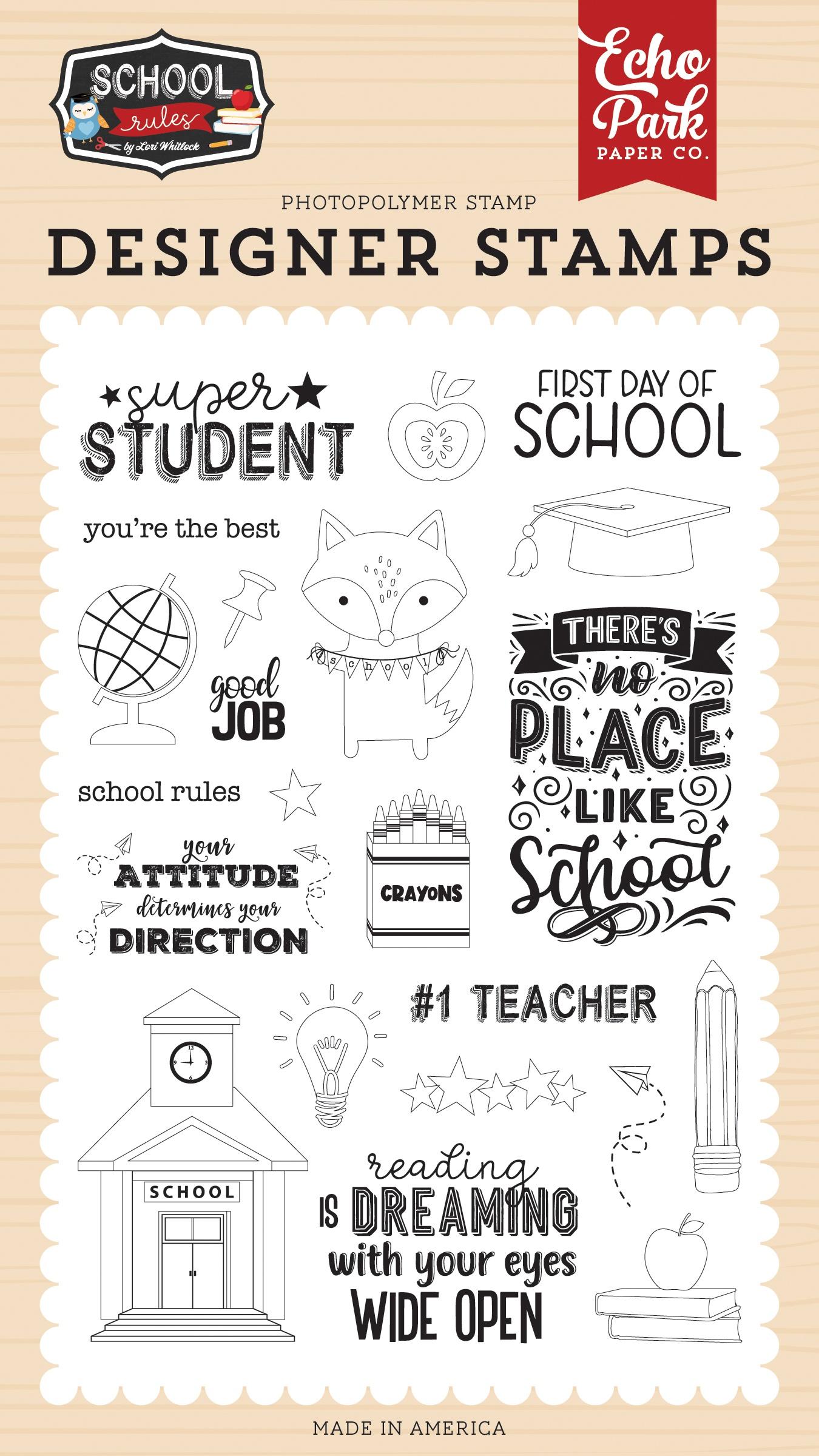 Echo Park School Rules - Super Student Stamp Set