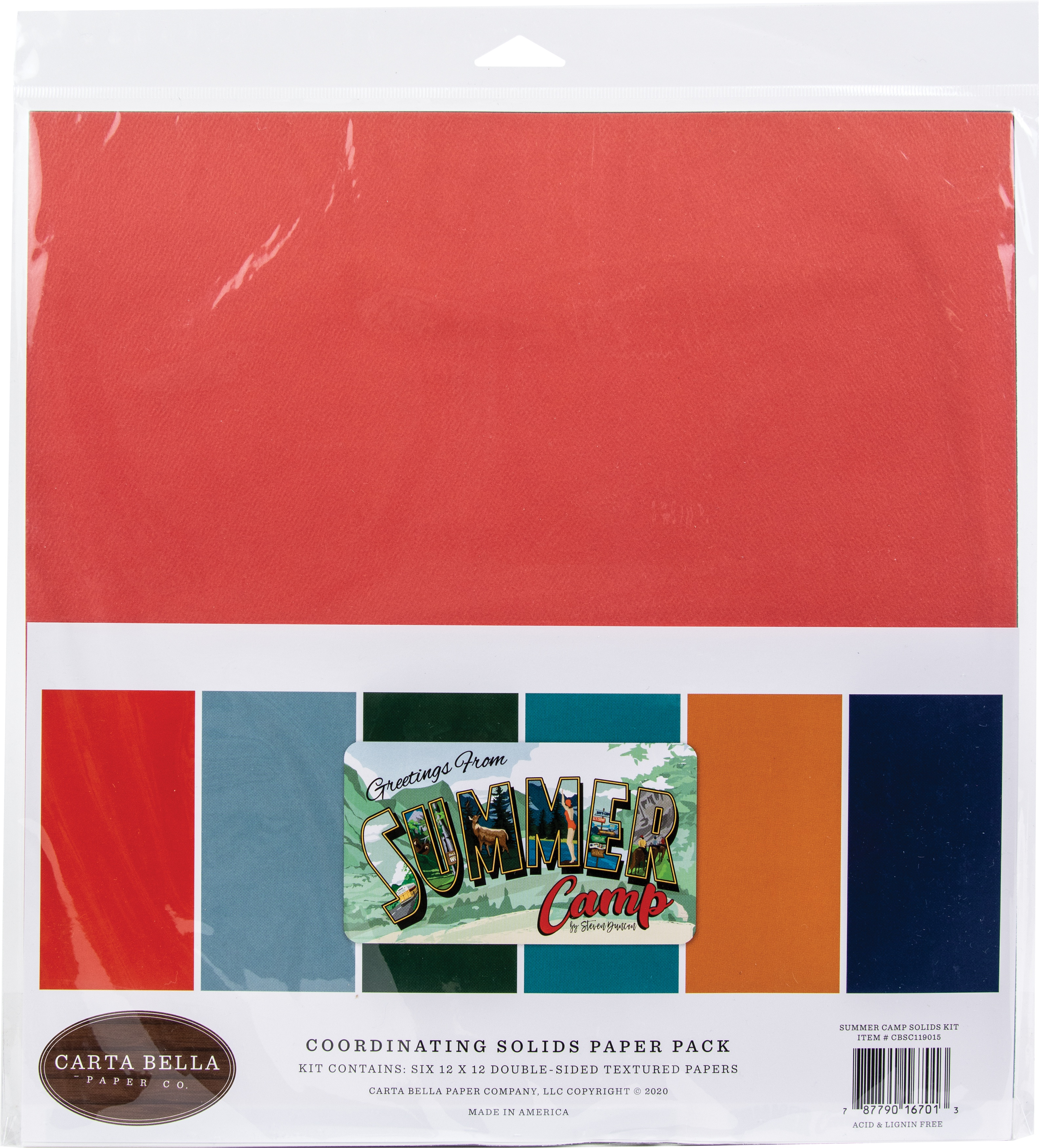 Carta Bella Double-Sided Solid Cardstock 12X12 6/Pkg-Summer Camp, 6 Colors