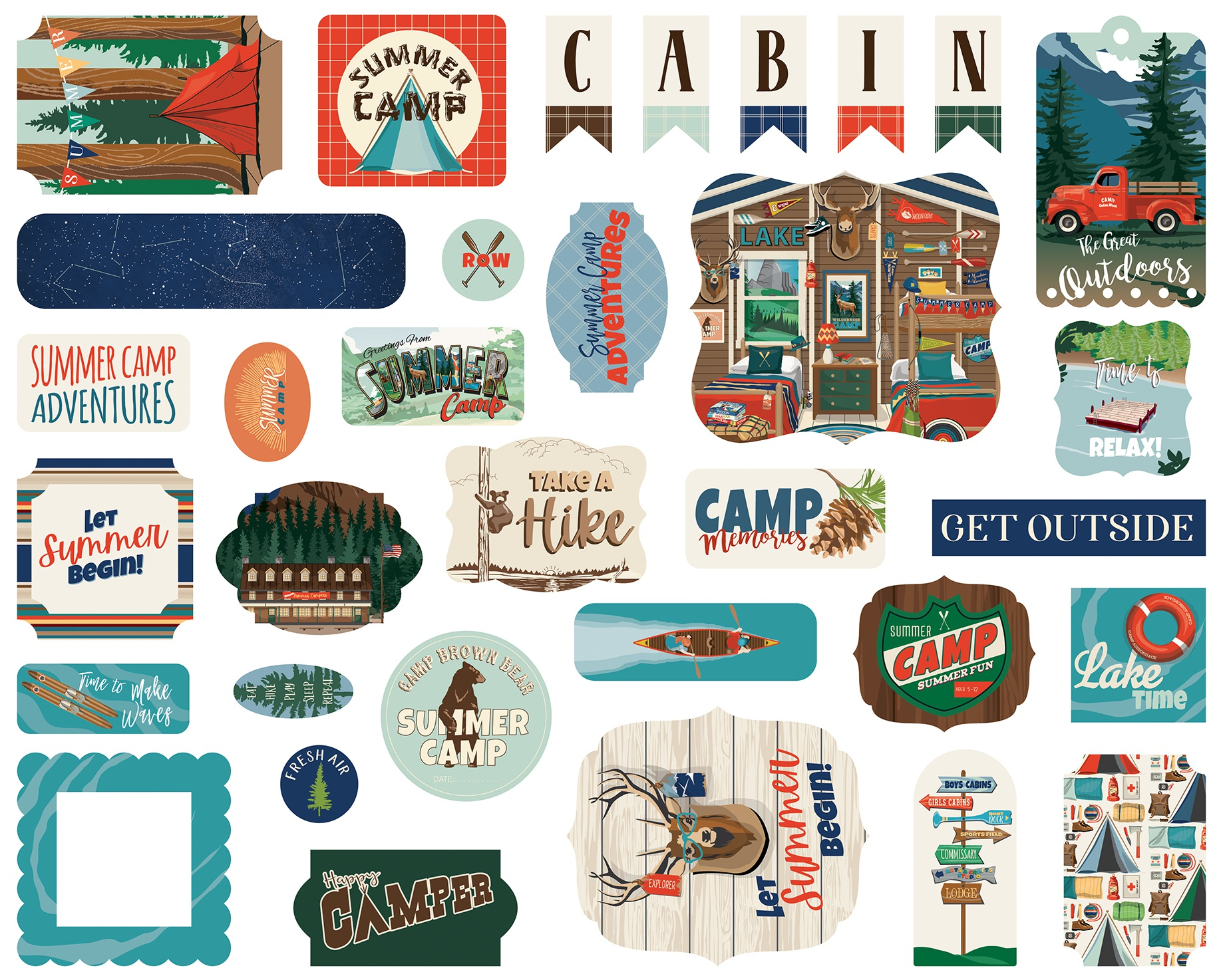 Carta Bella Cardstock Ephemera 33/Pkg-Icons, Summer Camp