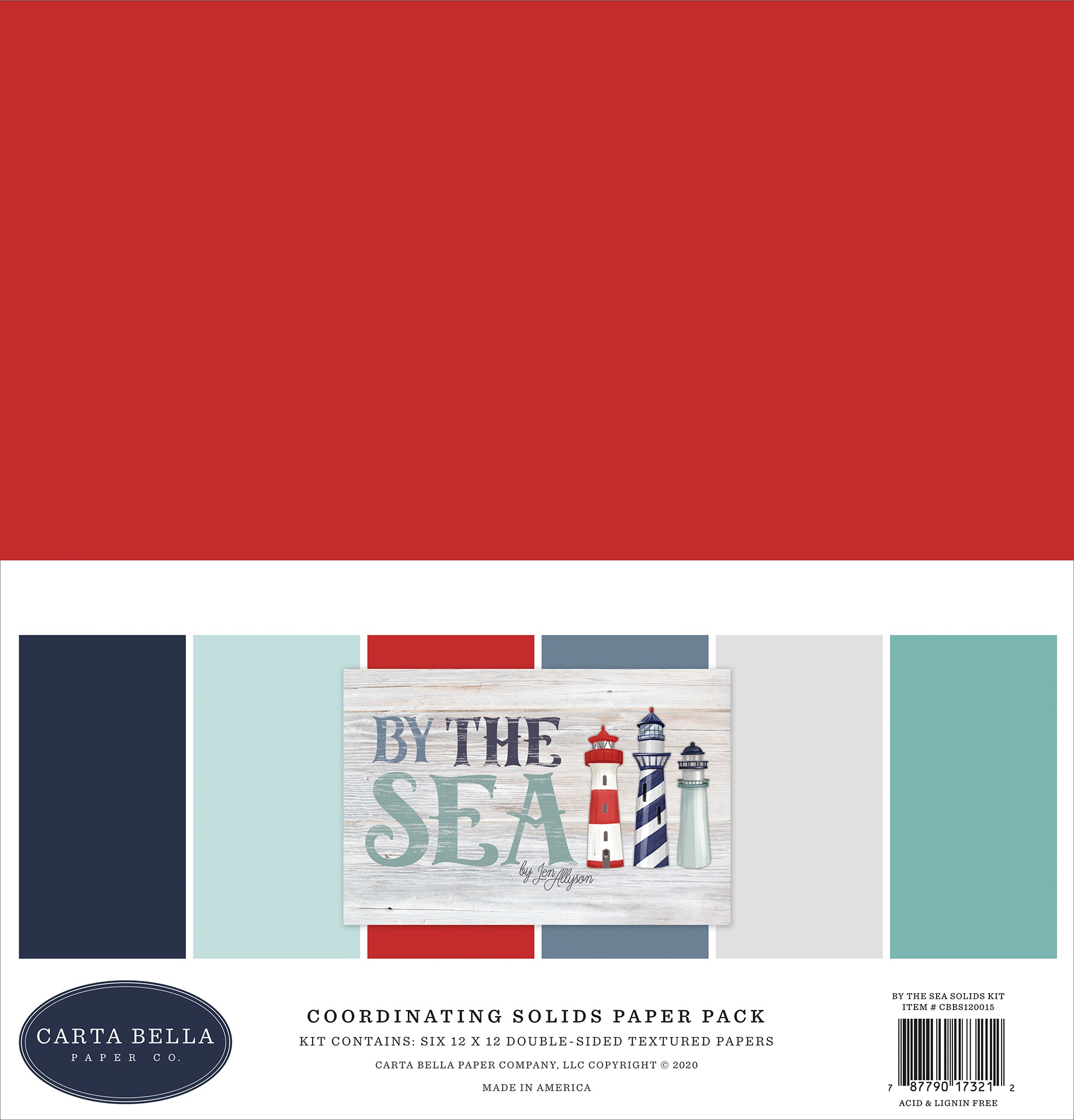 Carta Bella Double-Sided Solid Cardstock 12X12 6/Pkg-By The Sea, 6 Colors