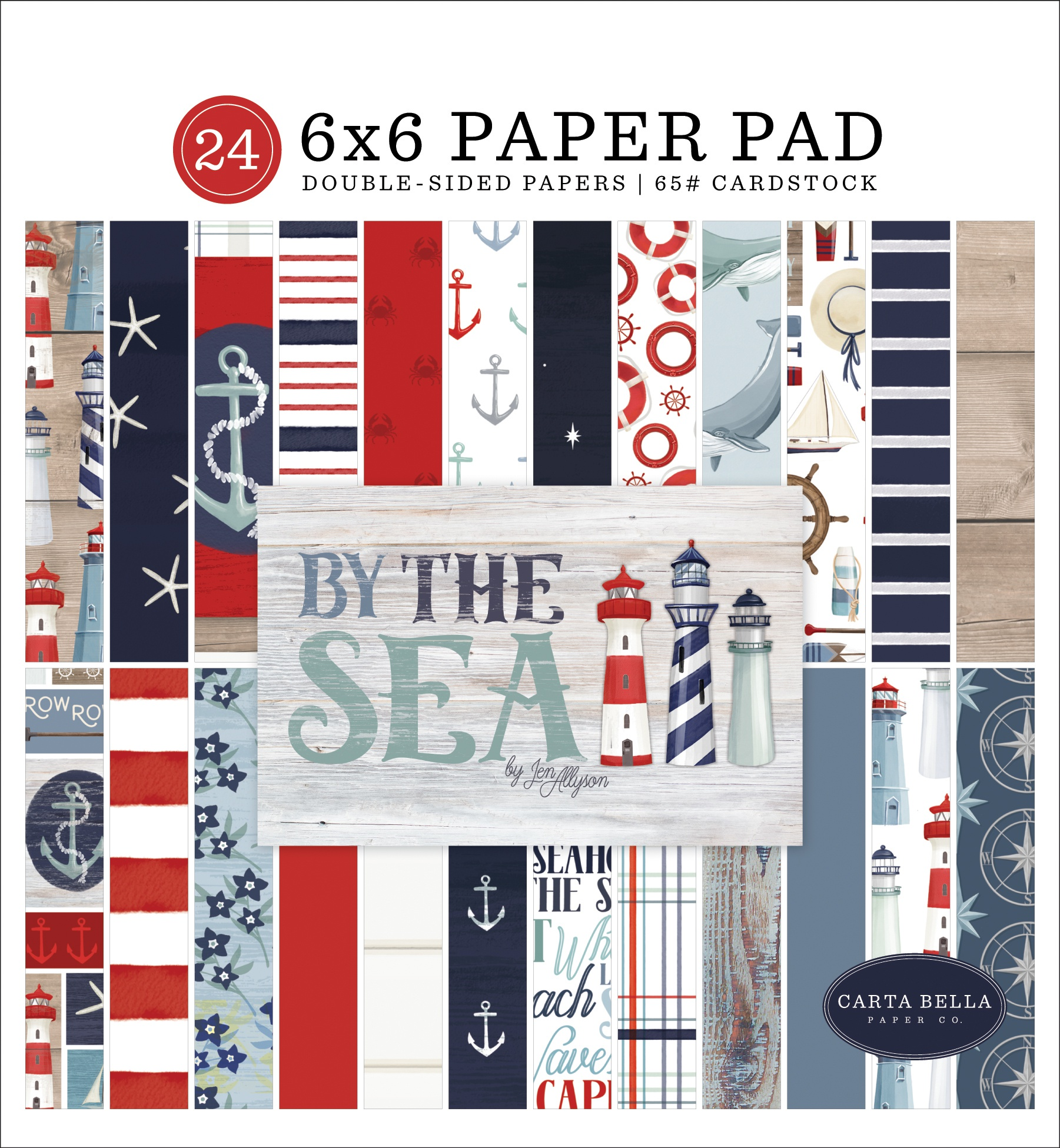 Carta Bella Double-Sided Paper Pad 6X6 24/Pkg-By The Sea, 12 Designs/2 Each