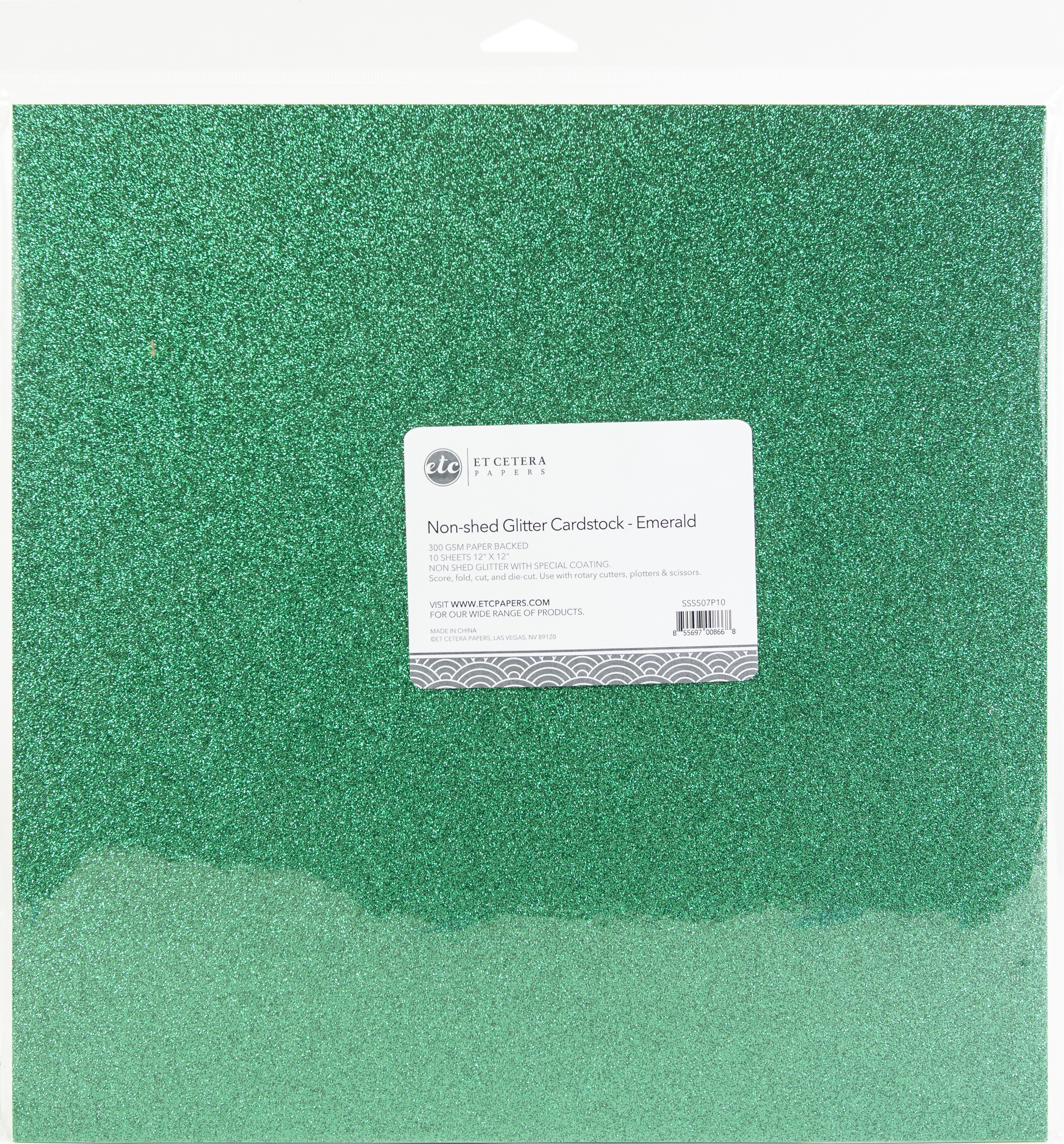 Non-Shed Glitter Cardstock - Emerald, 12x12