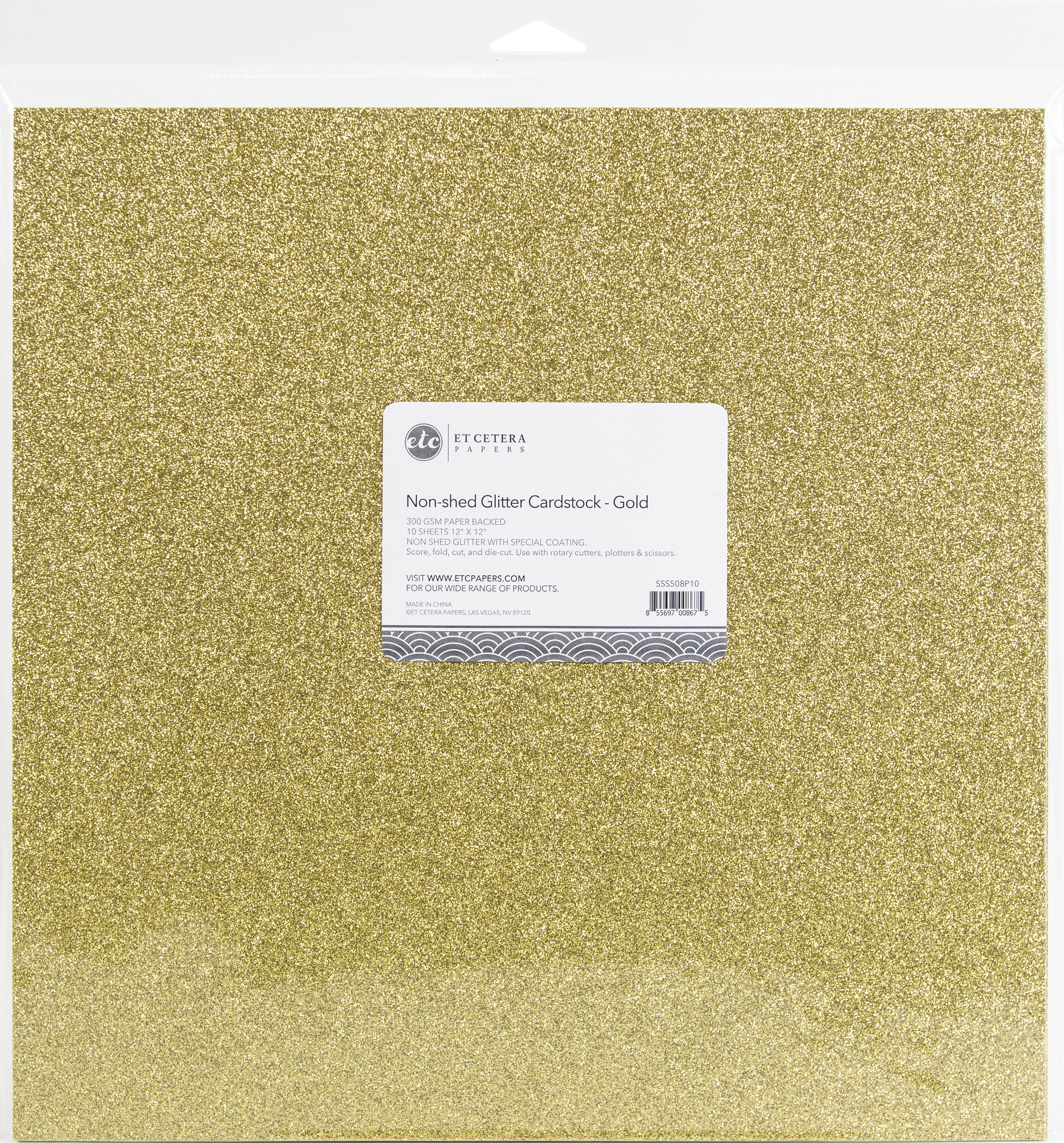 Non-Shed Glitter Cardstock - Gold, 12x12