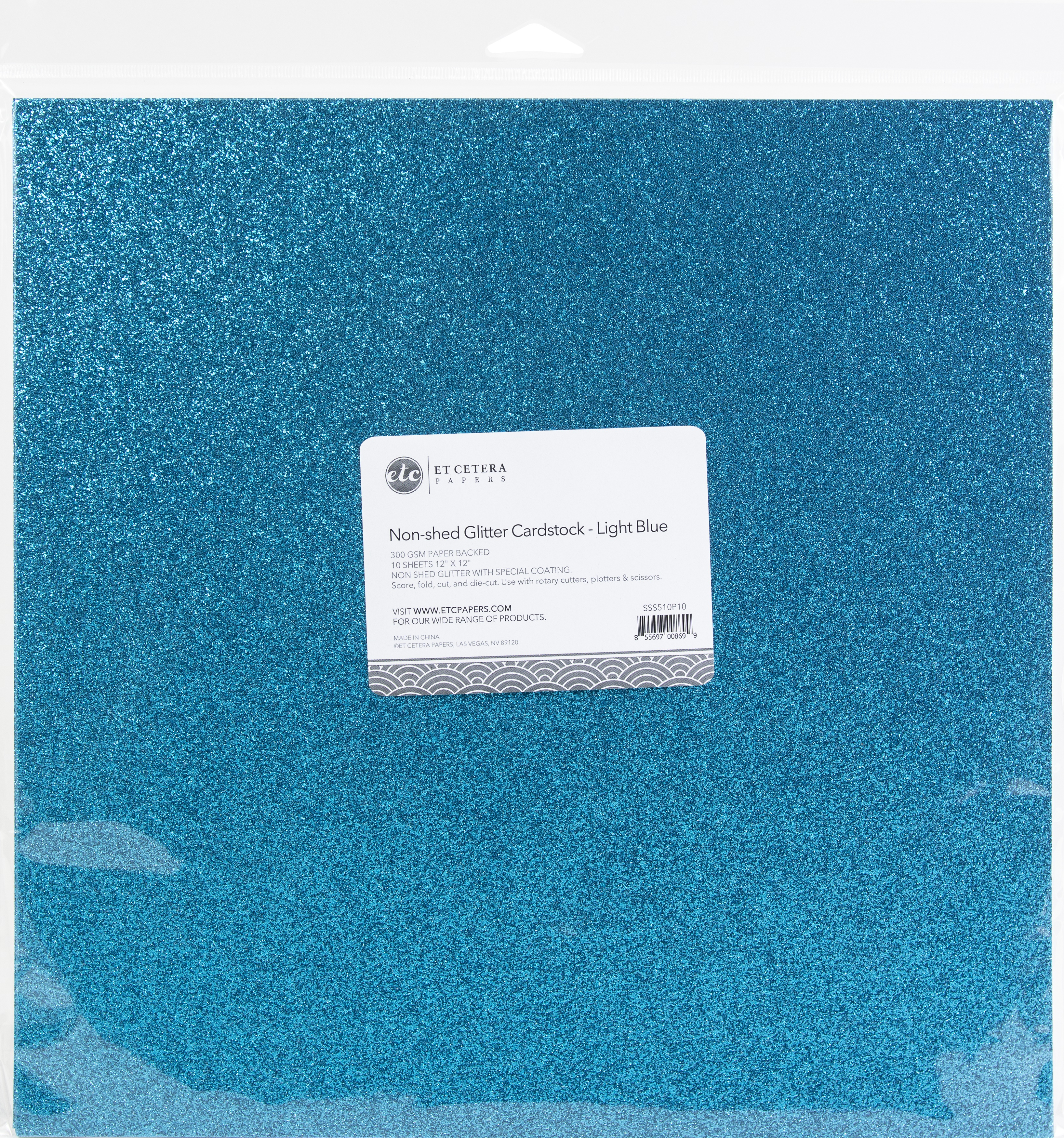 Non-Shed Glitter Cardstock - Light Blue, 12x12