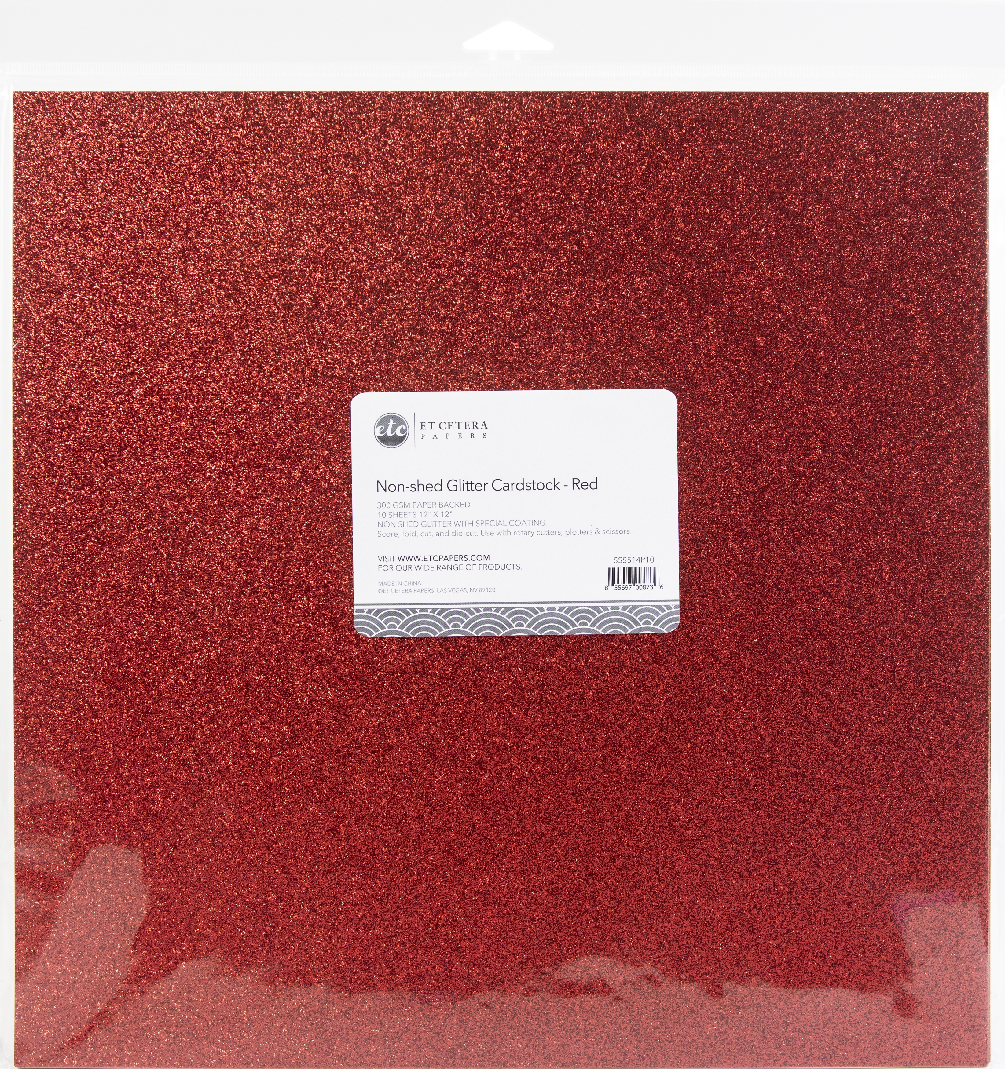Non-Shed Glitter Cardstock - Red, 12x12
