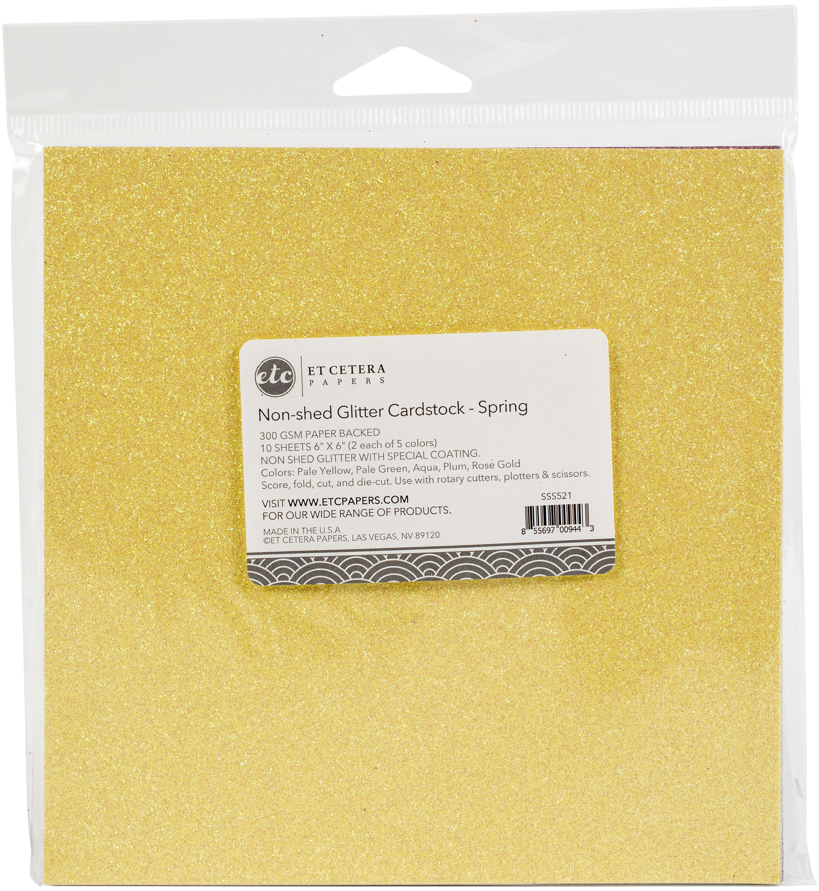 Non-Shed Glitter Cardstock - Spring Assortment, 6x6
