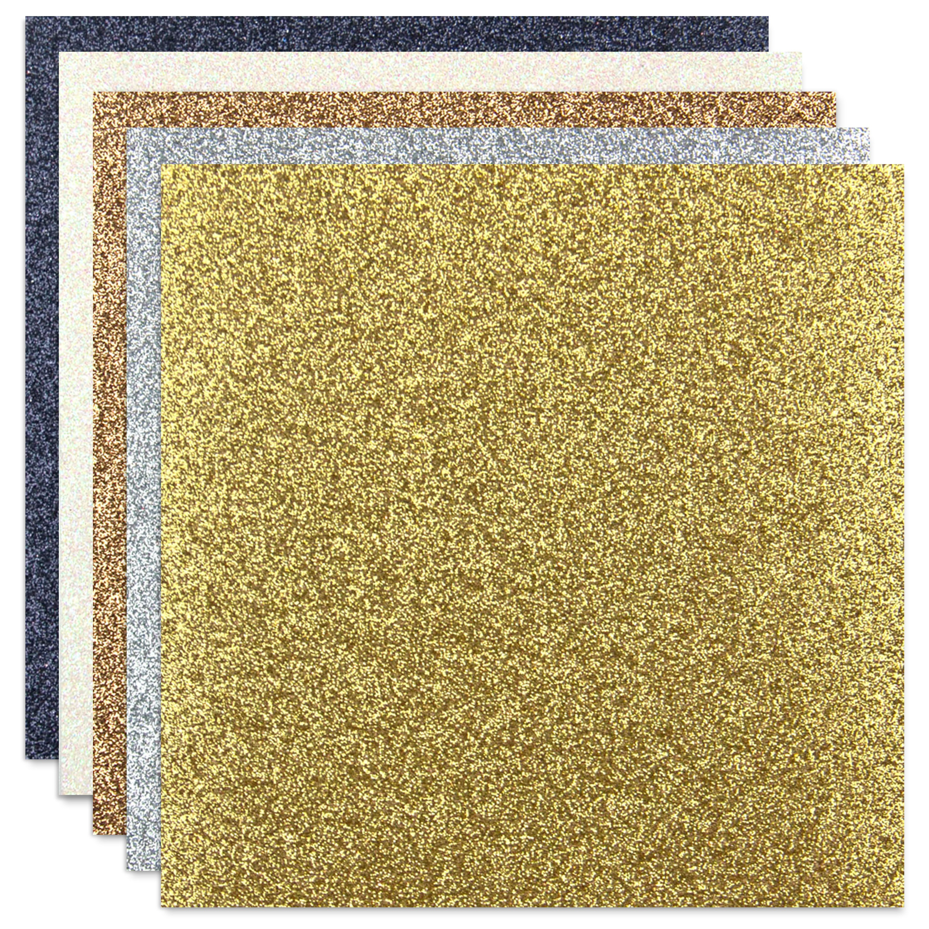 Non-Shed Glitter Cardstock 12X12 10/Pkg-Metallics, 2 each of 5 colors