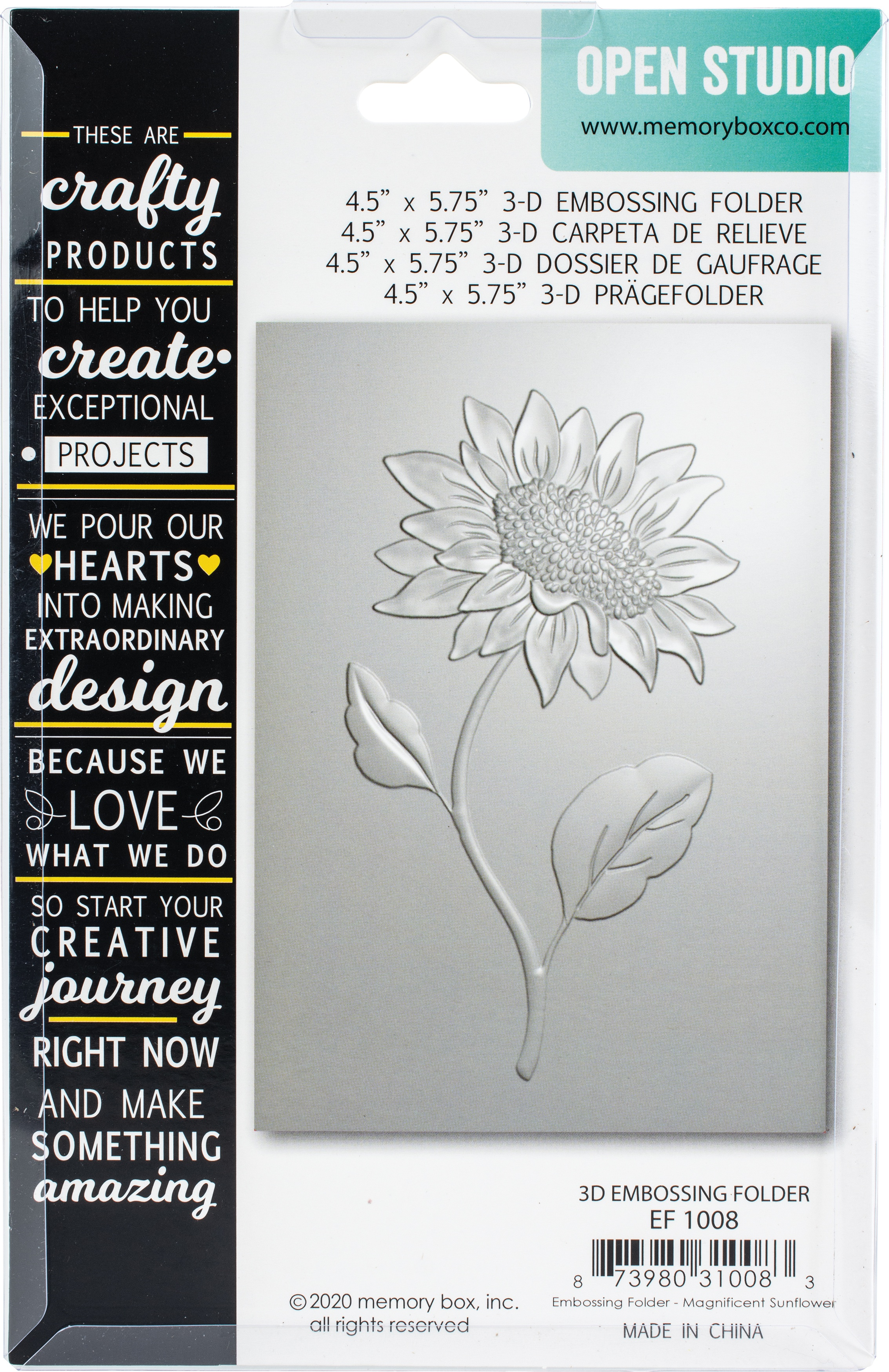 Memory Box 3D Embossing Folder 4.5X5.75-Magnificent Sunflower