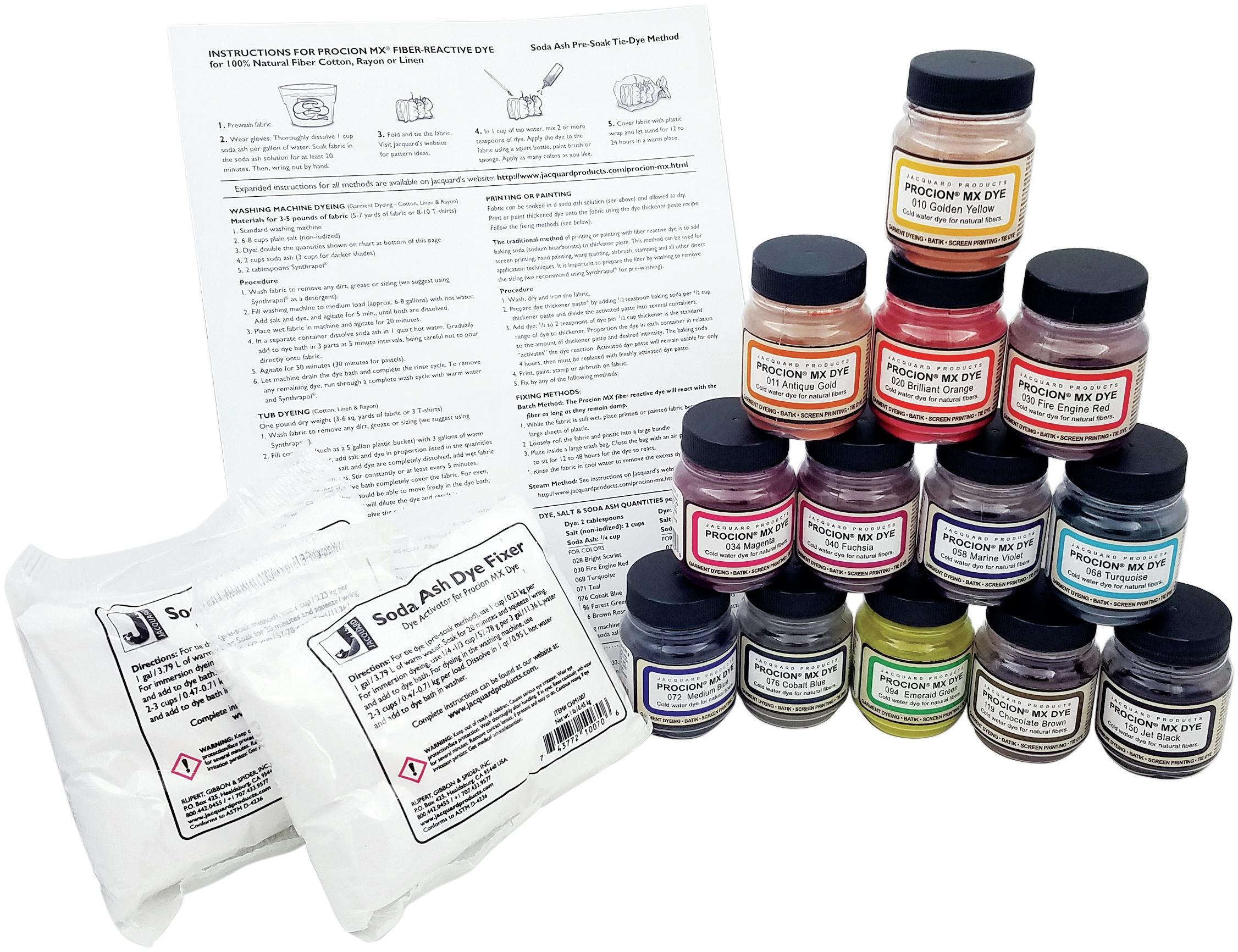 Jacquard Procion Mx Dye Set-13 Colors W/ Soda Ash