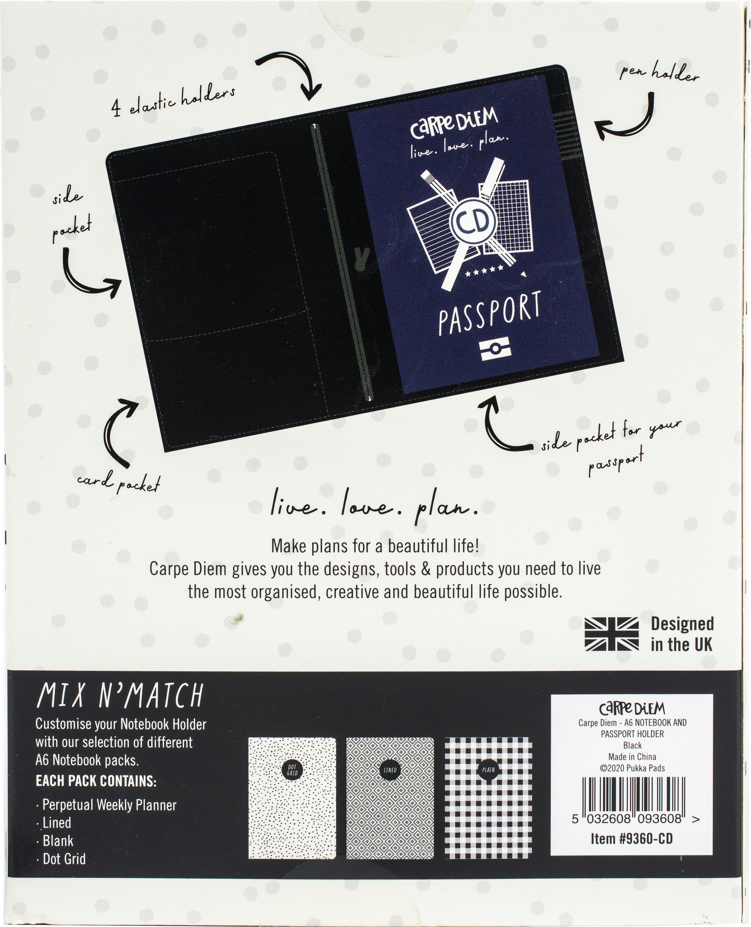 Carpe Diem Notebook & Passport Holder A6-Black