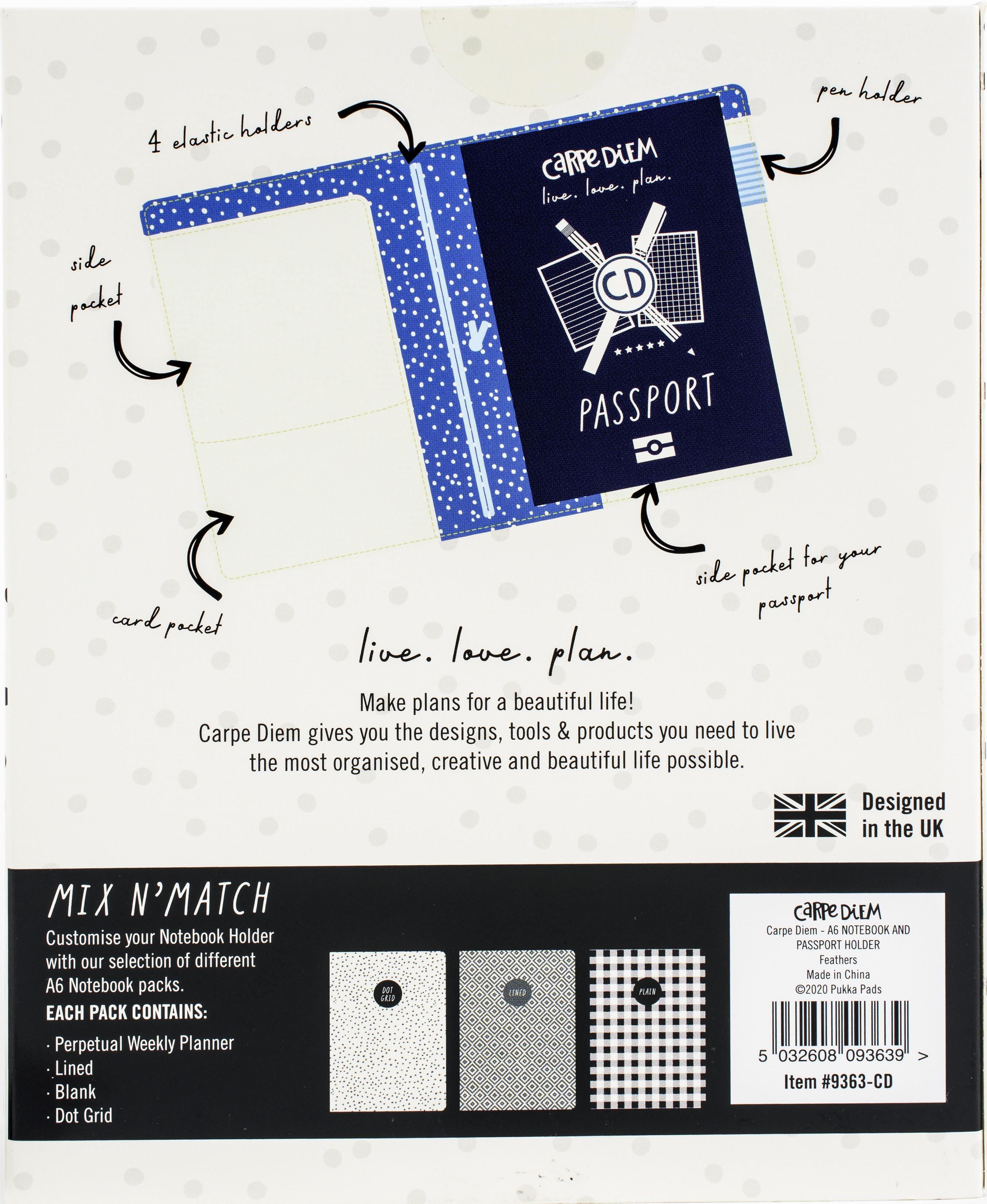 Carpe Diem Notebook & Passport Holder A6-Feathers