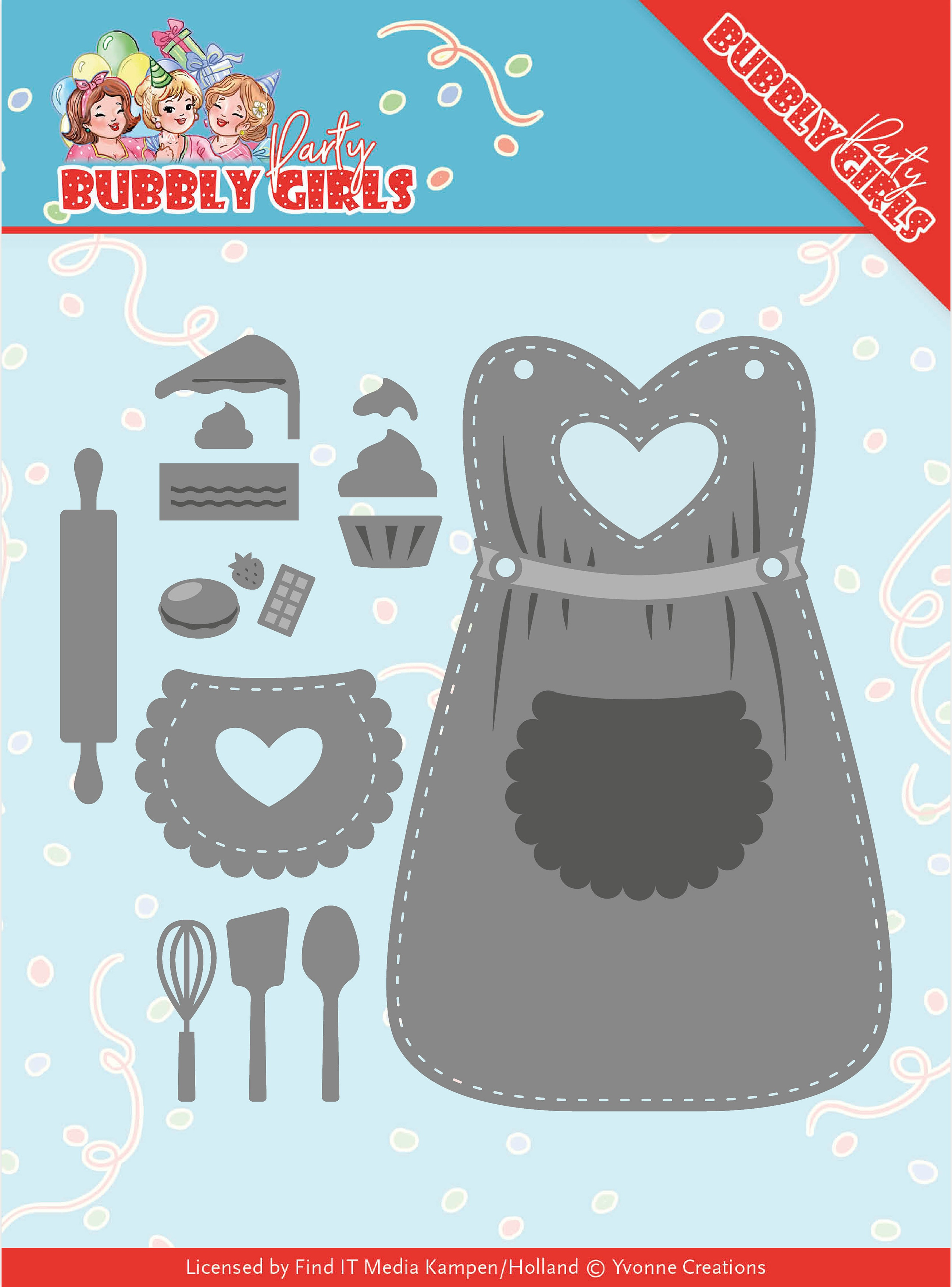 Find It Trading Yvonne Creations Die-Apron, Bubbly Girls Party