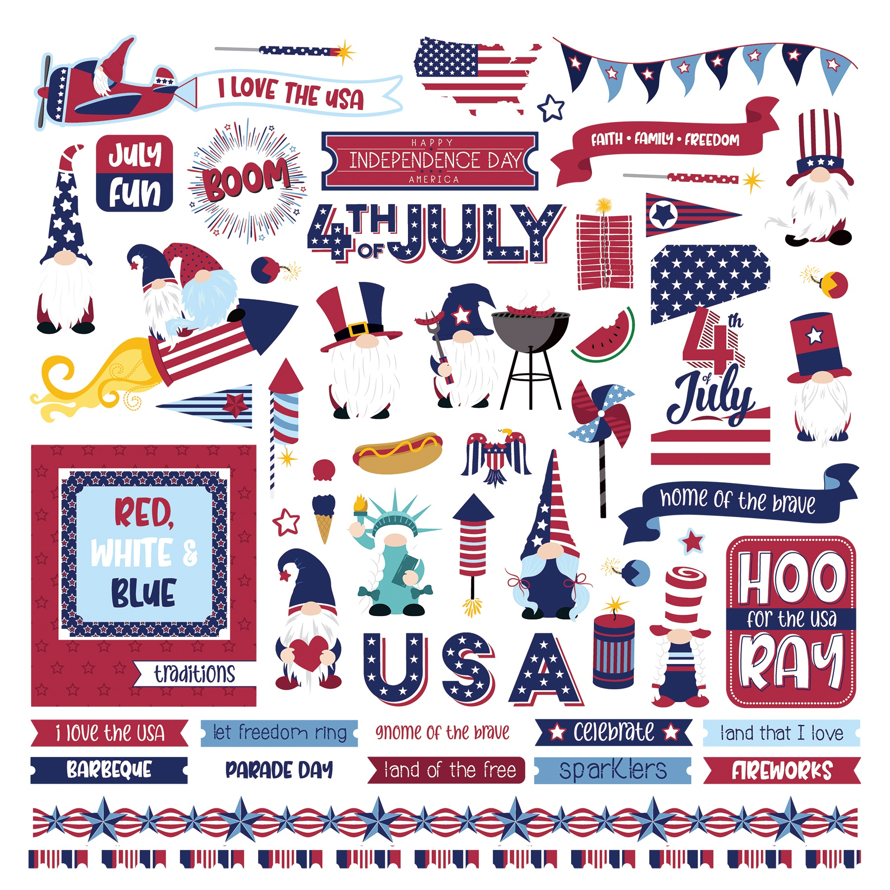 Gnome For July 4th Stickers 12X12-Elements