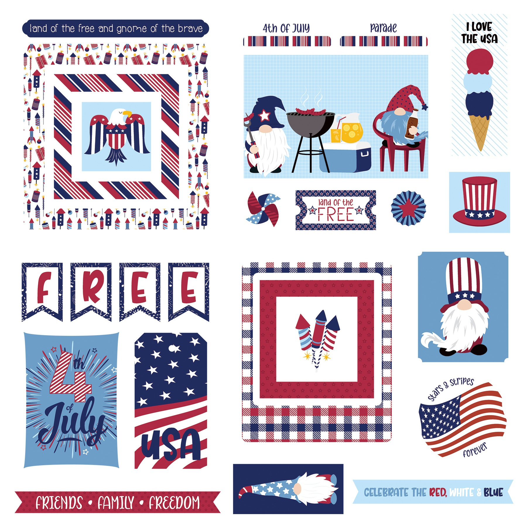 Gnome For July 4th Ephemera Cardstock Die-Cuts-
