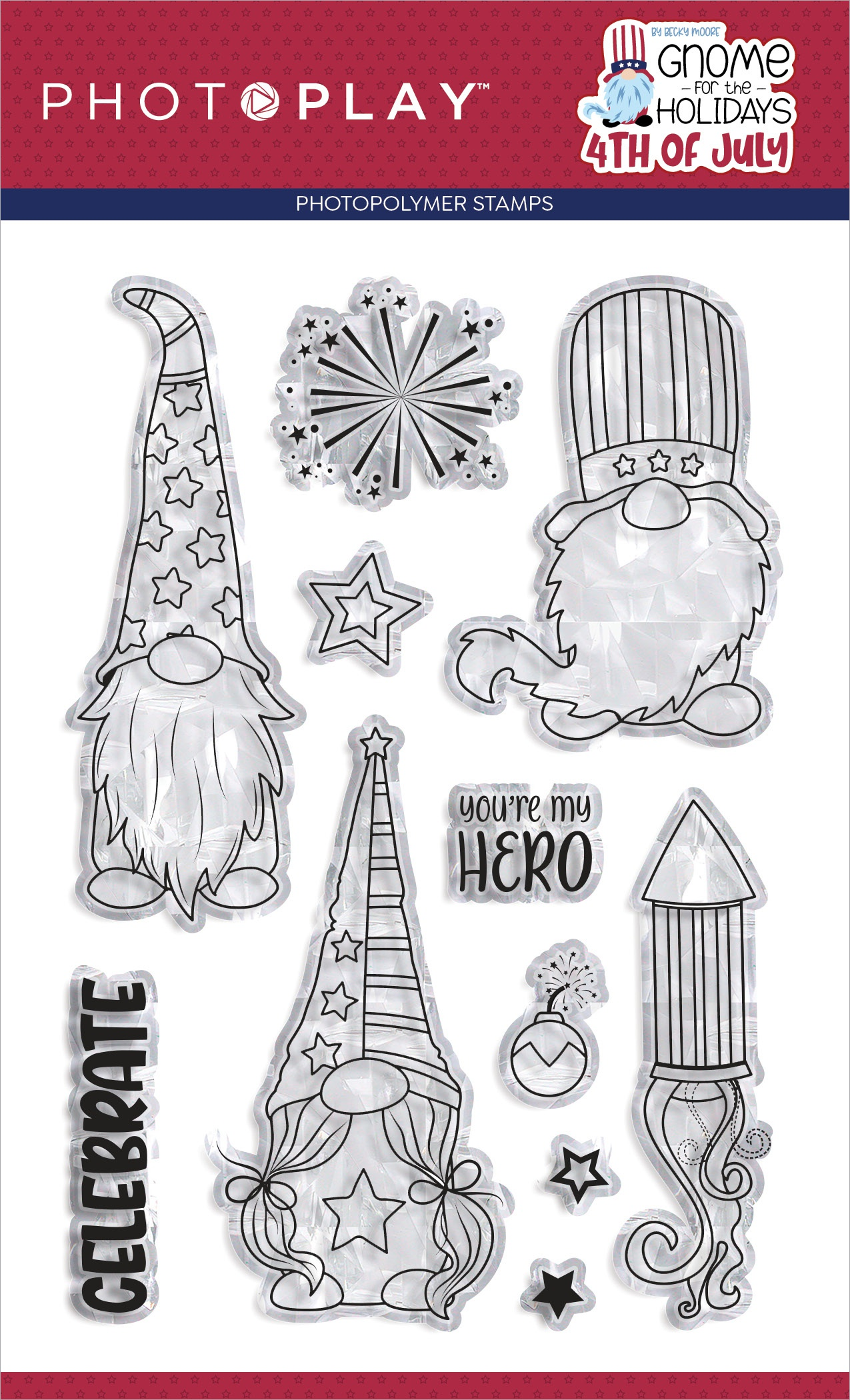 PhotoPlay Photopolymer Stamp-Gnome For July 4th
